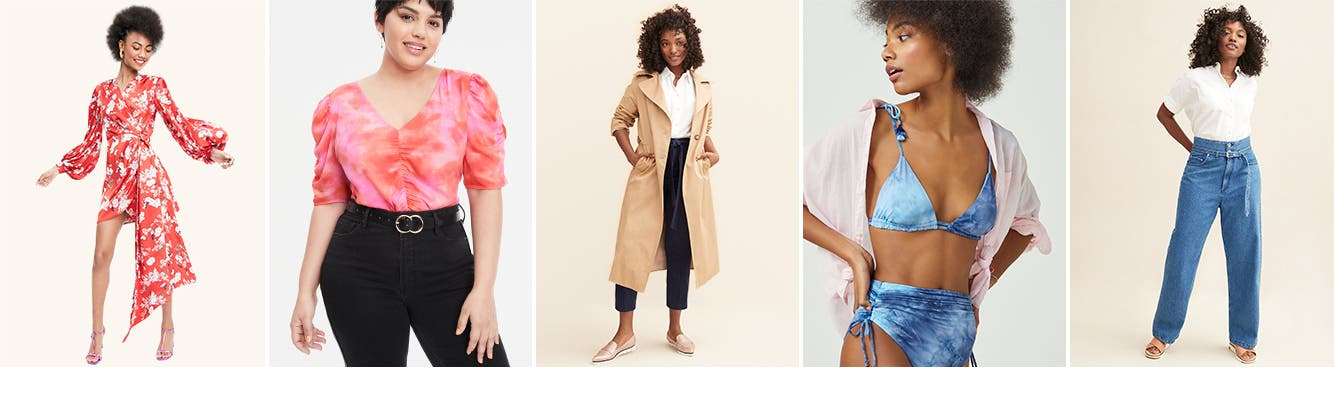Women's dresses, tops, coats, swimsuits and jeans.