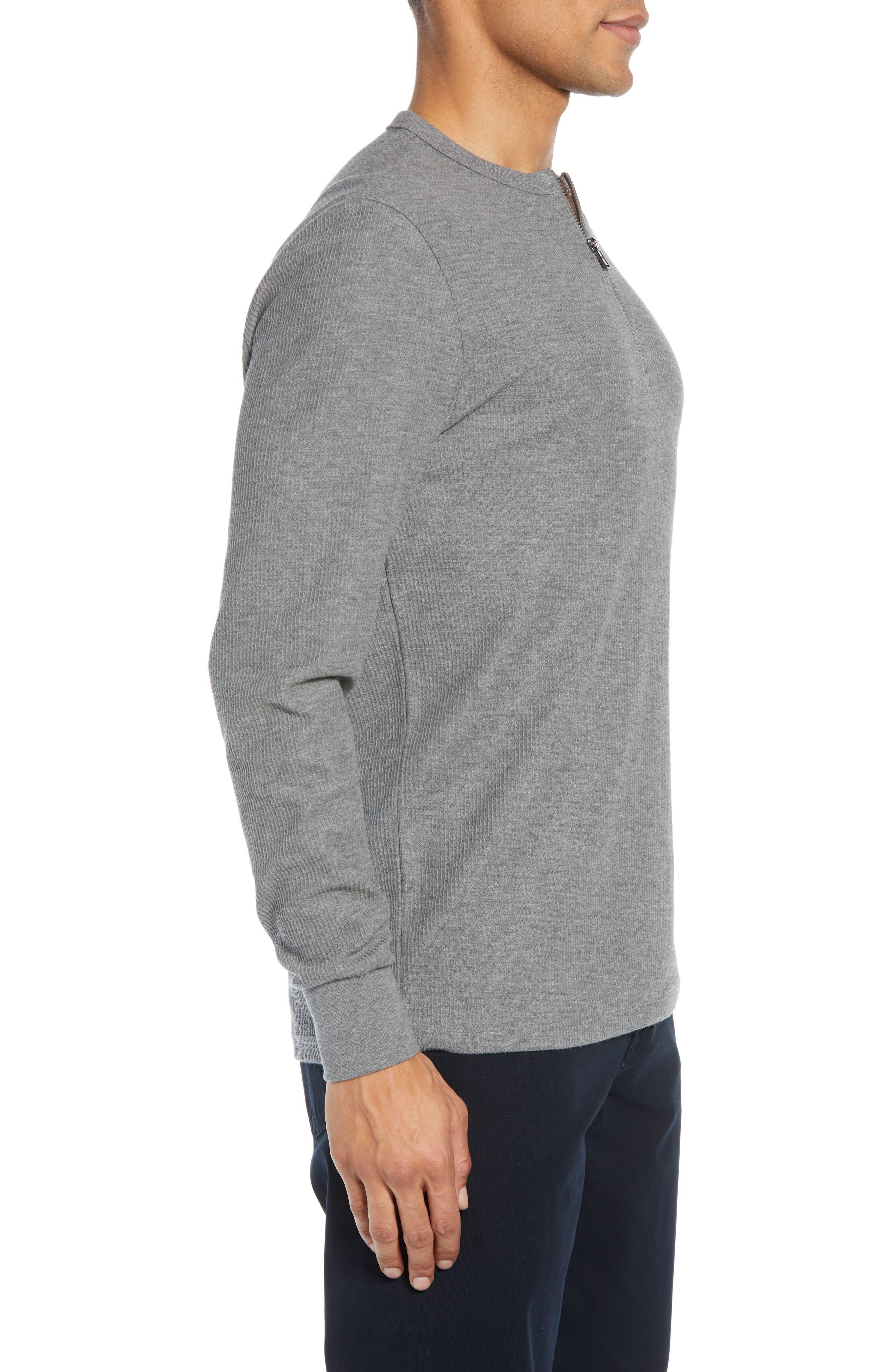 Textor Quarter Zip Thermal T-Shirt,                             Alternate thumbnail 3, color,                             GREY