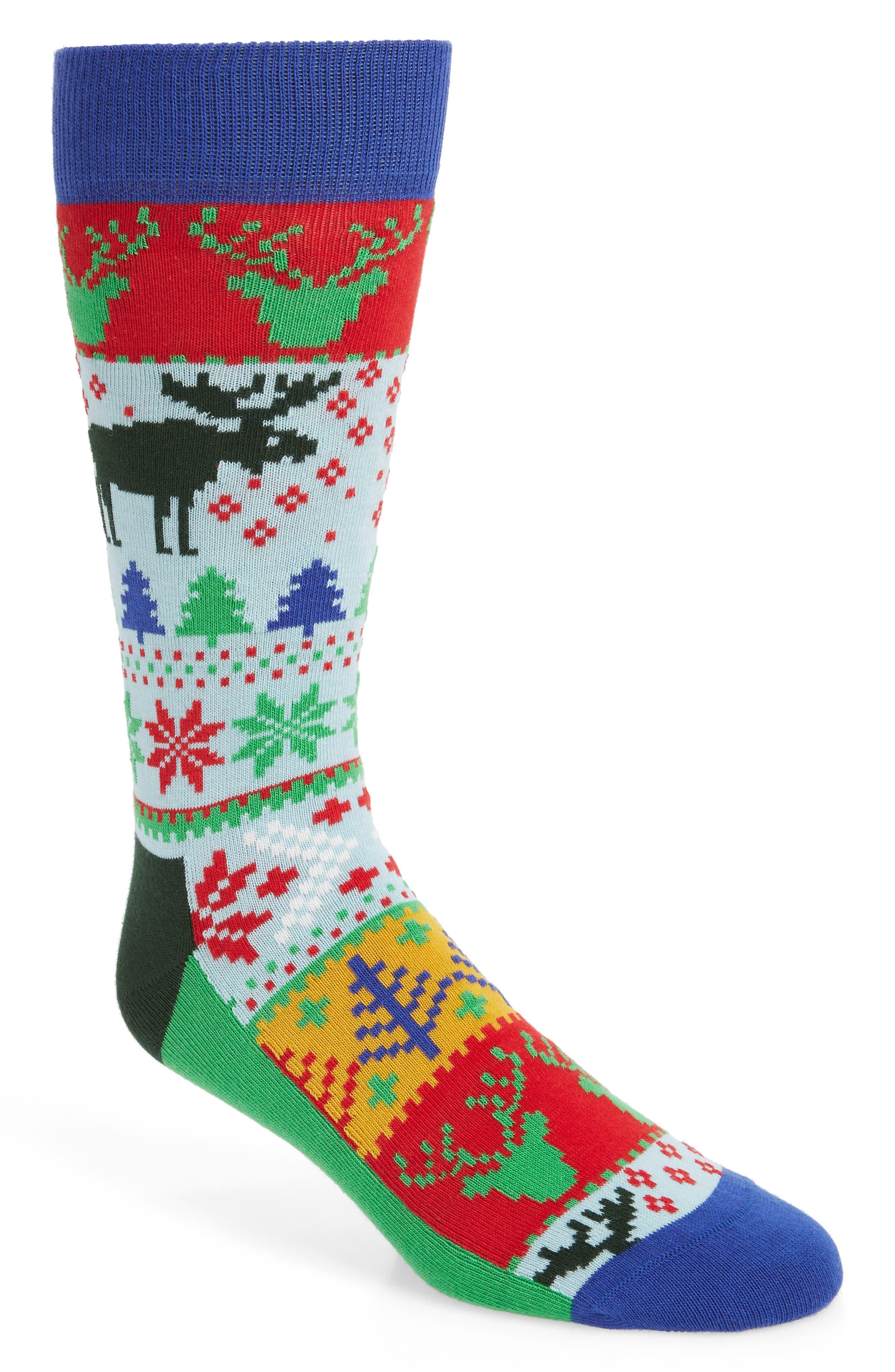 HAPPY SOCKS Holiday Fair Isle Socks in Green Multi