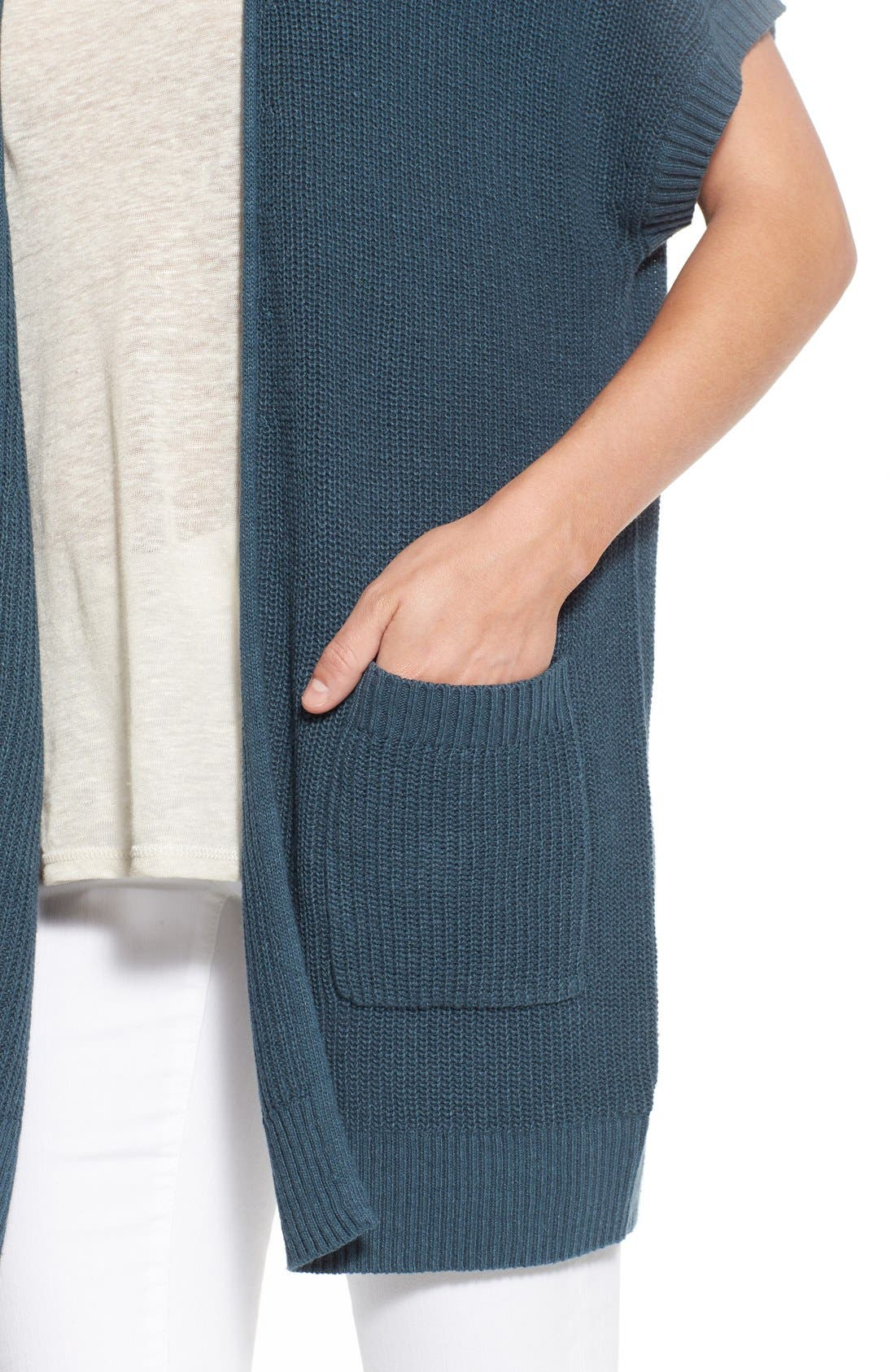 Shaker Stitch Open Front Cardigan,                             Alternate thumbnail 8, color,