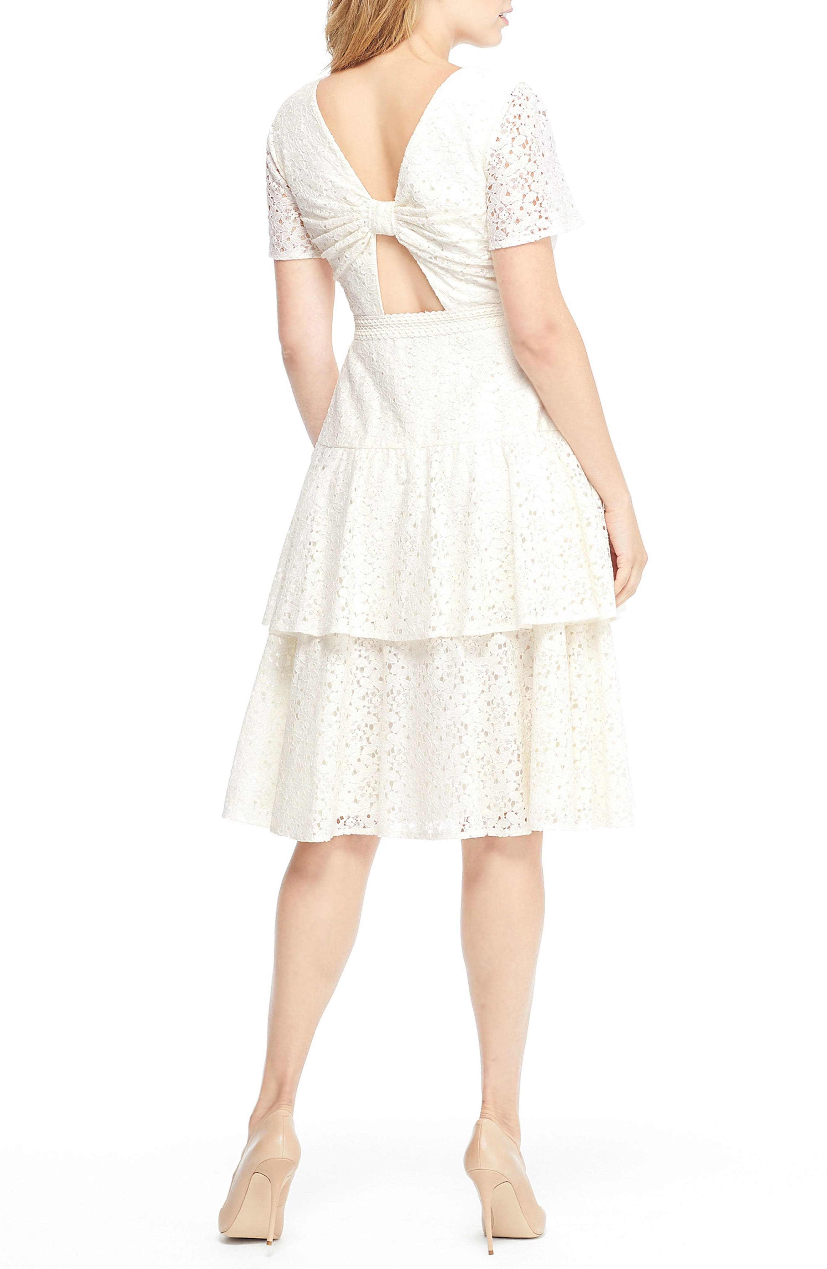 Doris Bow Back Tiered Skirt Lace Dress,                             Alternate thumbnail 2, color,                             CREAM
