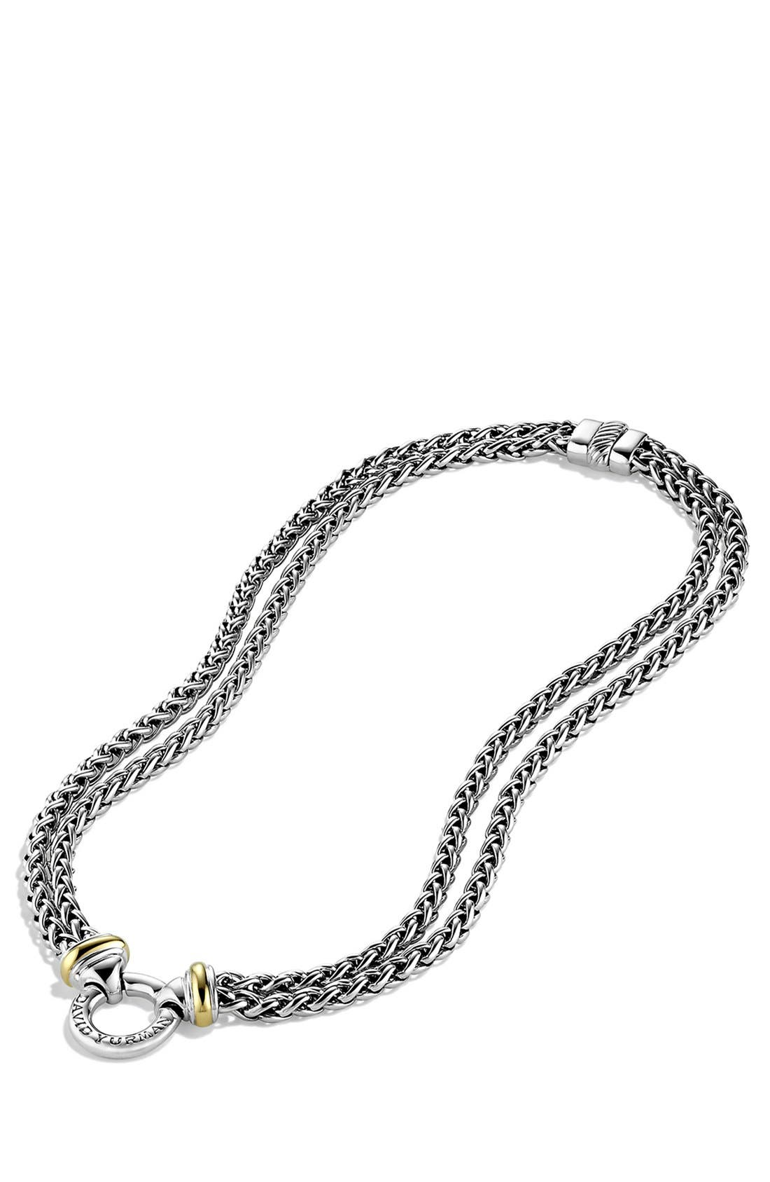 'Double Wheat' Chain Necklace with Gold,                             Alternate thumbnail 3, color,                             TWO TONE