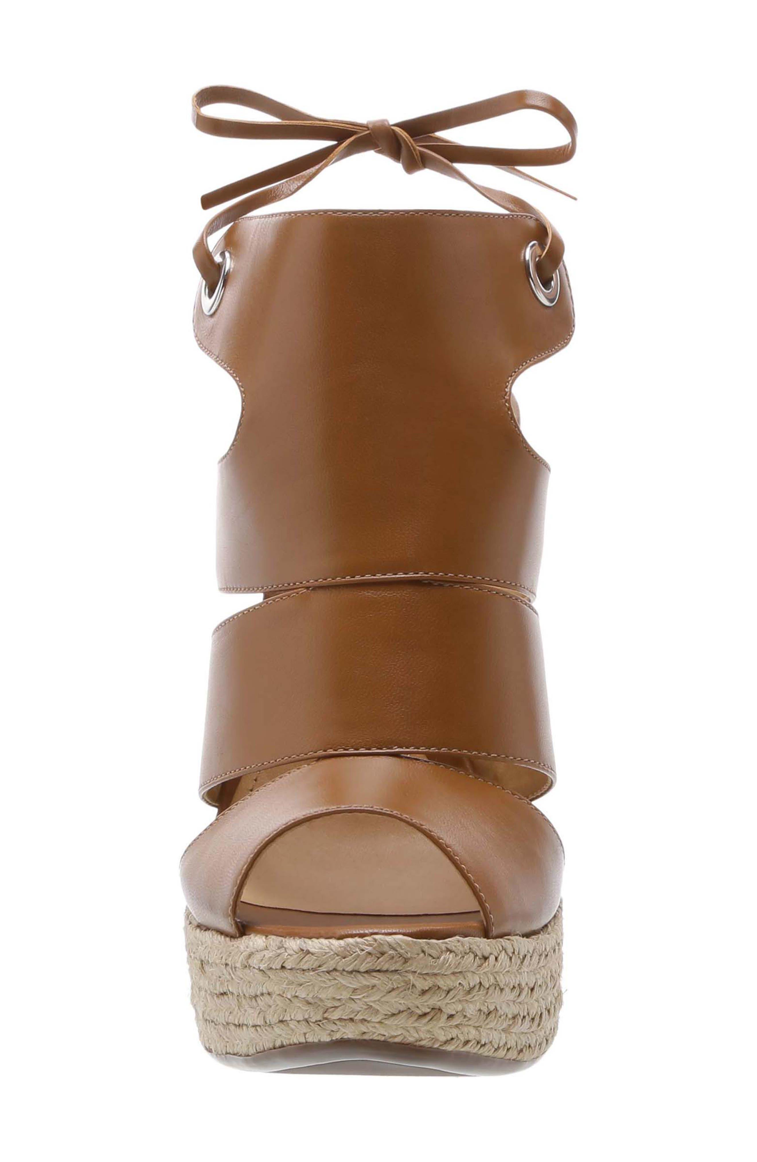 Ilione Platform Wedge Sandal,                             Alternate thumbnail 4, color,                             WOOD LEATHER