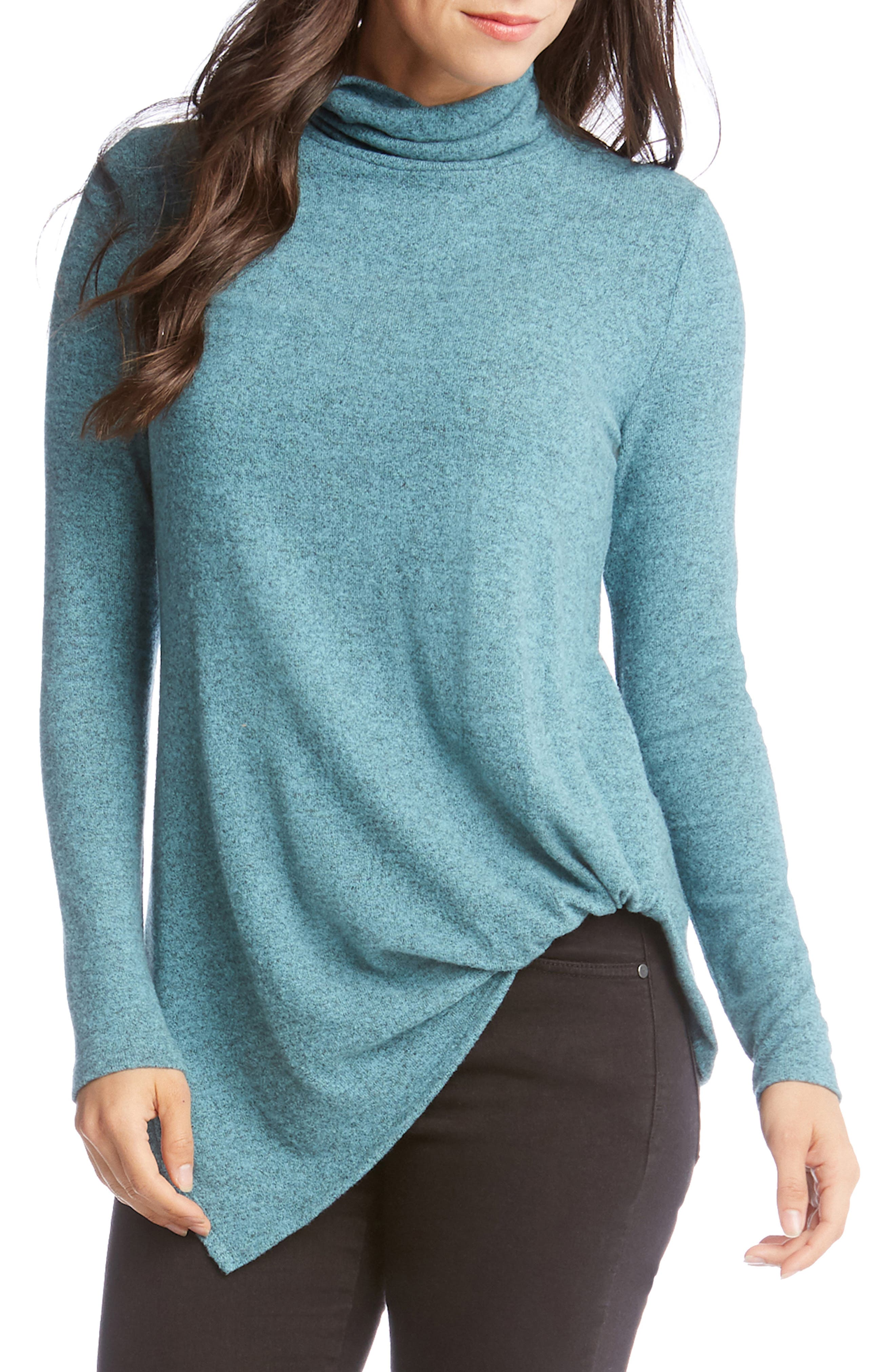 Karen Kane Asymmetrical Turtleneck Sweater, Blue/green