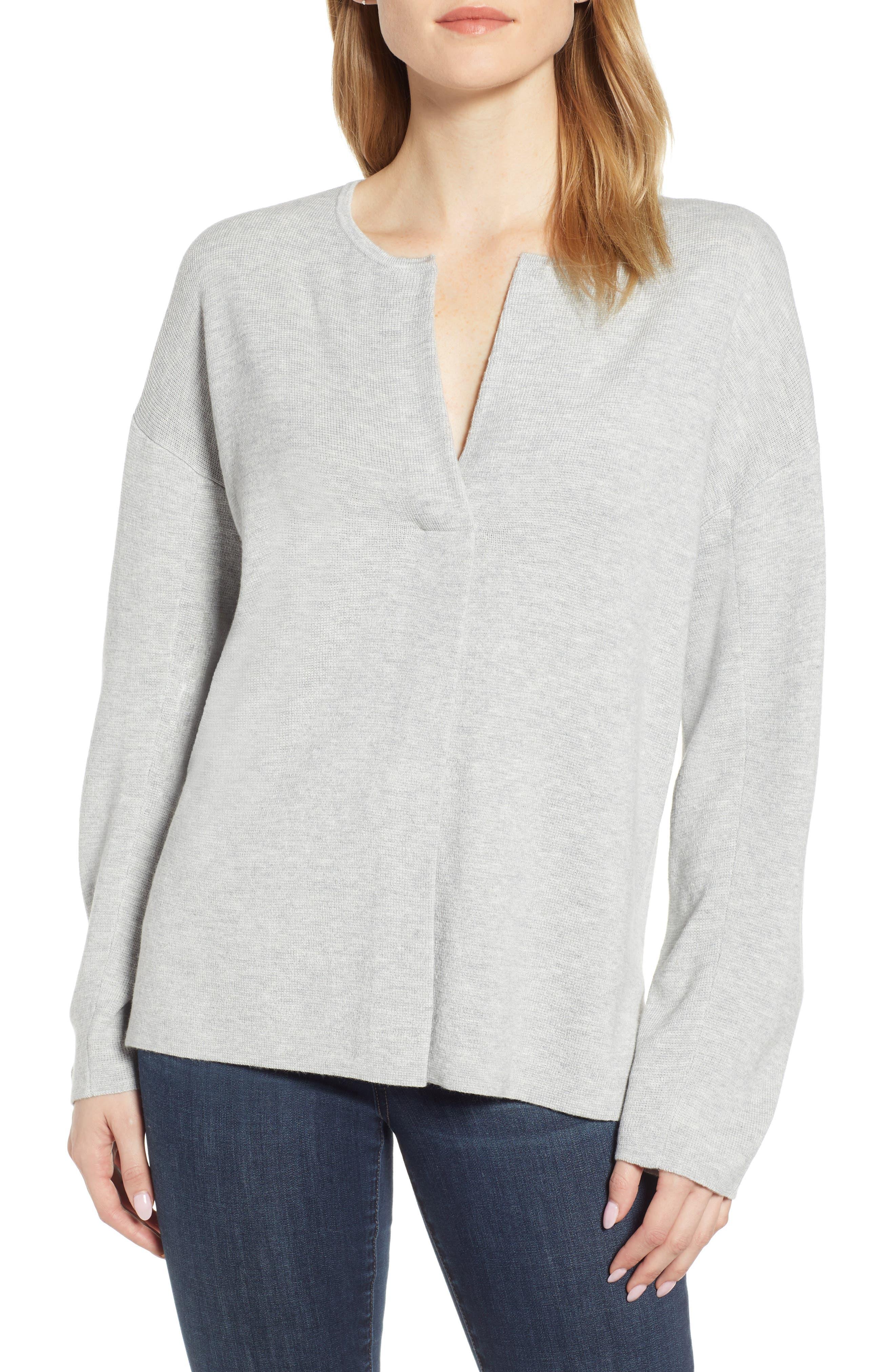 Split Neck Sweater,                             Main thumbnail 1, color,                             MED GREY