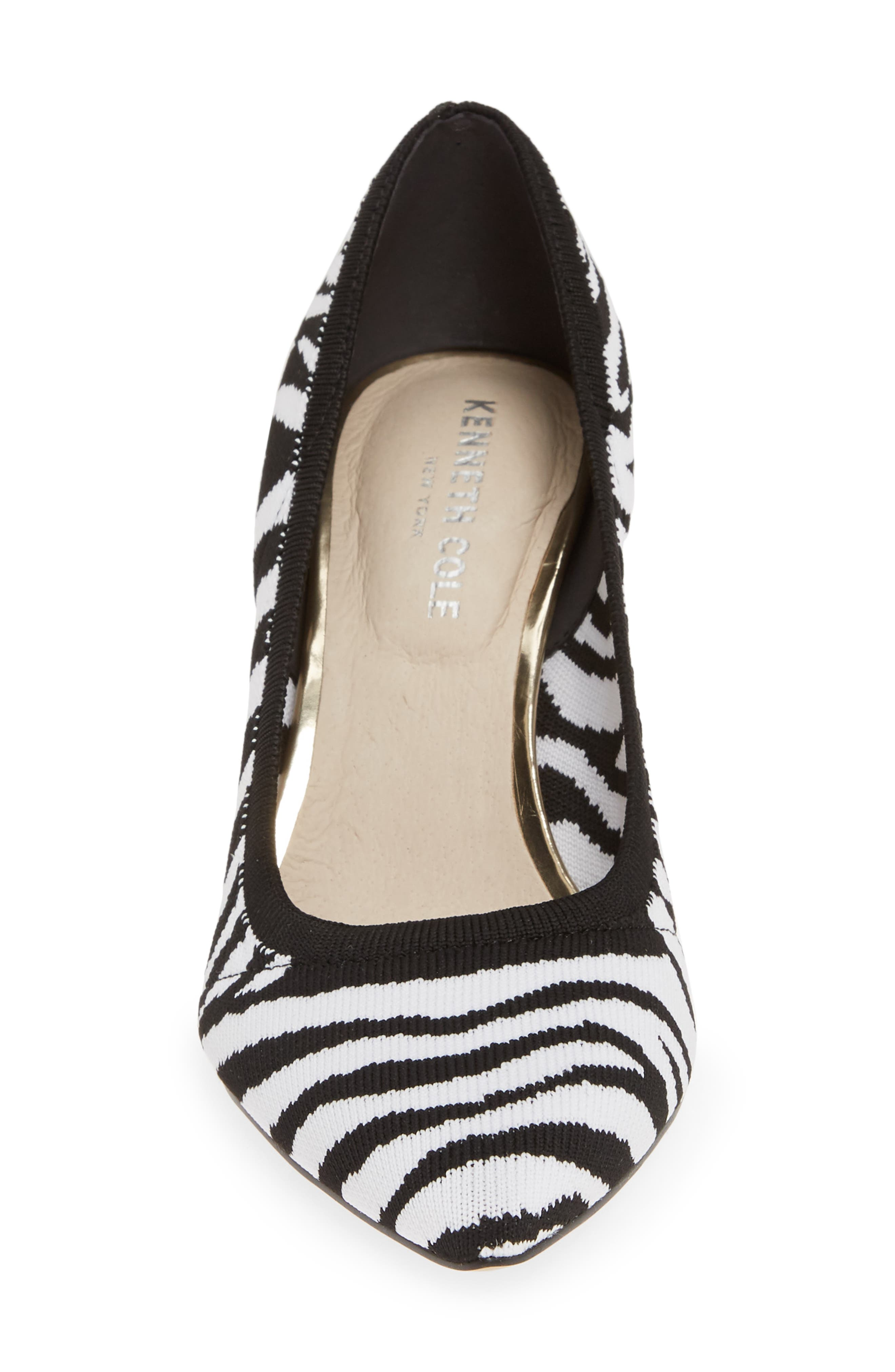 KENNETH COLE NEW YORK,                             Riley 85 Pump,                             Alternate thumbnail 4, color,                             BLACK/ WHITE KNIT