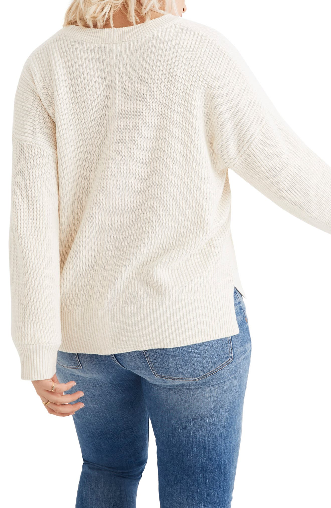 Patch Pocket Pullover Sweater,                             Alternate thumbnail 5, color,                             BRIGHT IVORY