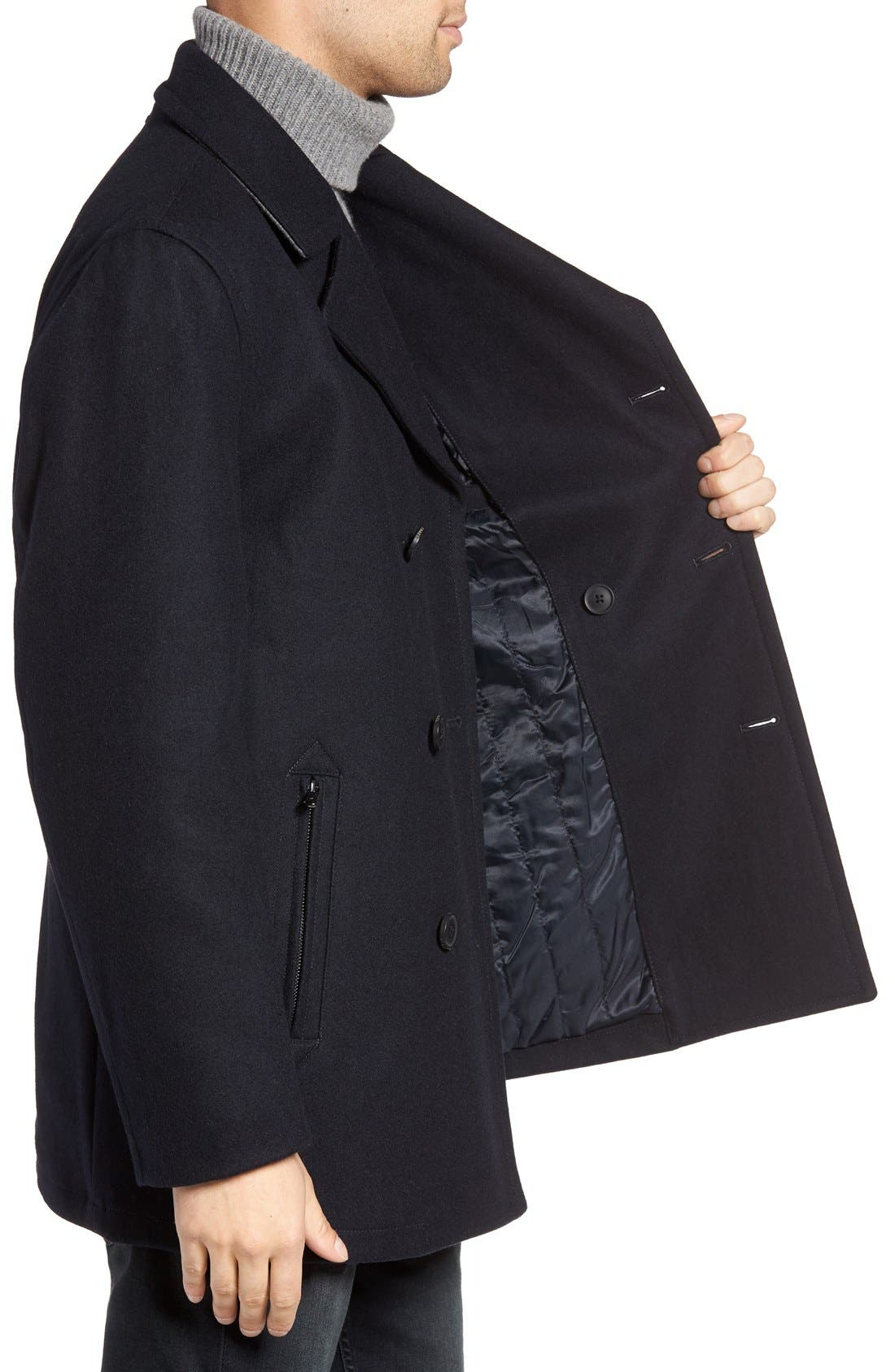 Wool Blend Double Breasted Peacoat,                             Alternate thumbnail 110, color,