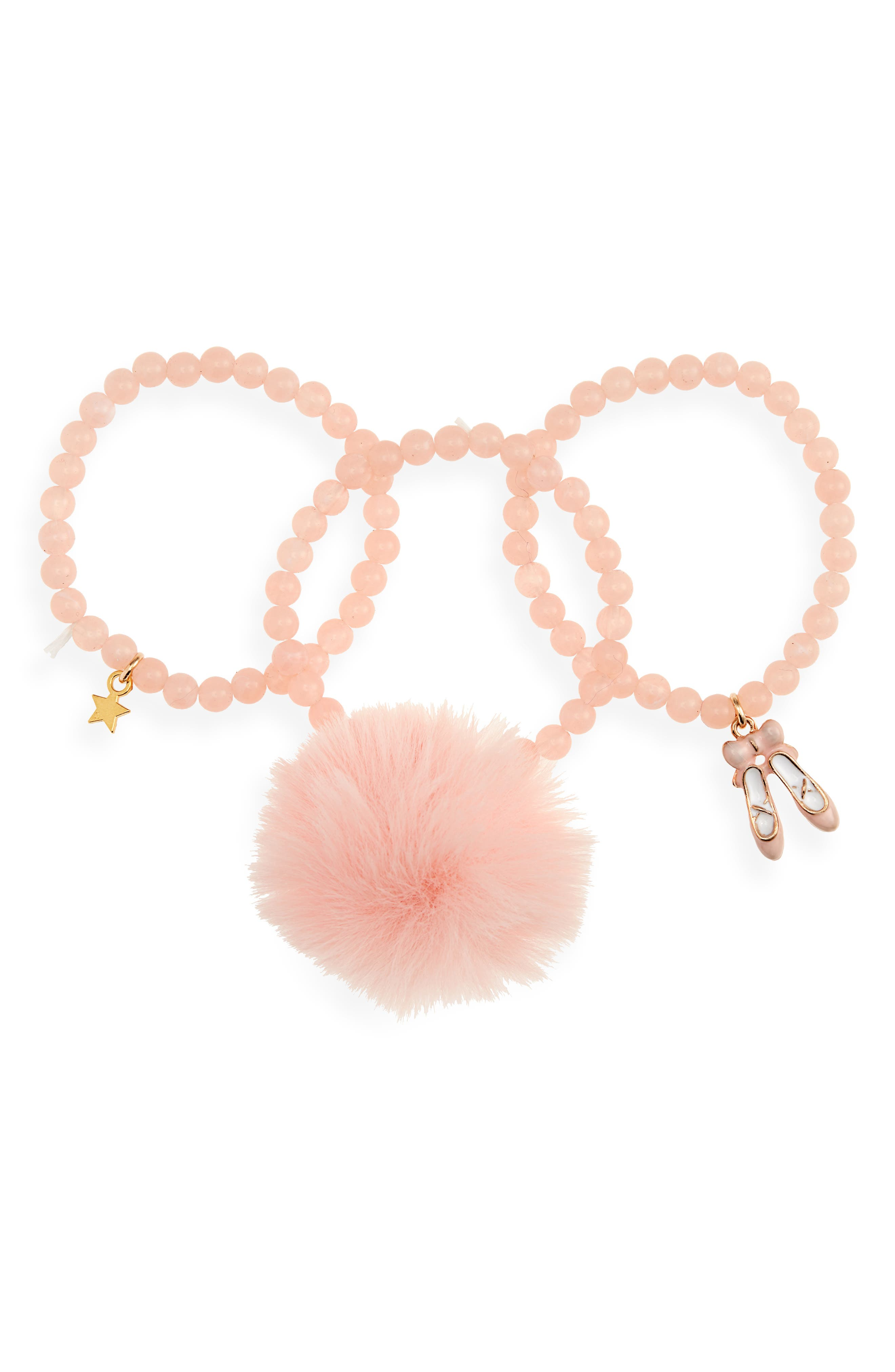 3-Pack Beaded Ballet Charm Bracelets, Main, color, NUDE