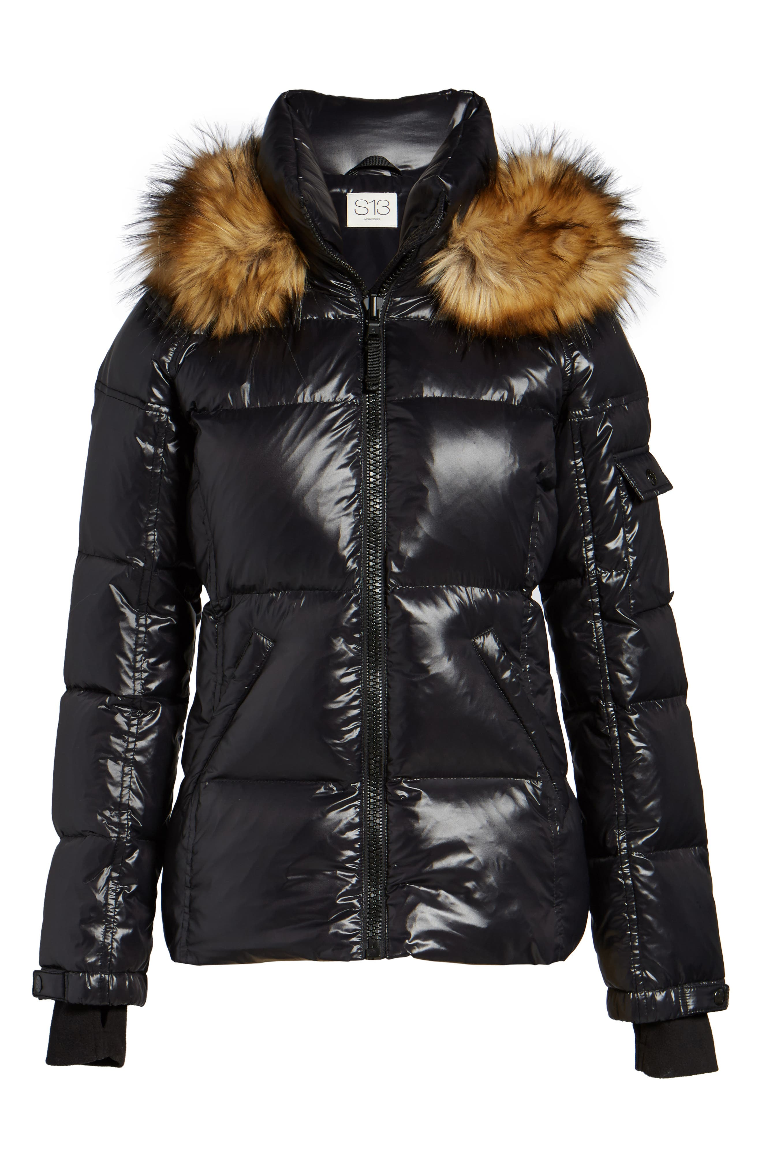 Kylie Faux Fur Trim Gloss Puffer Jacket,                             Alternate thumbnail 29, color,