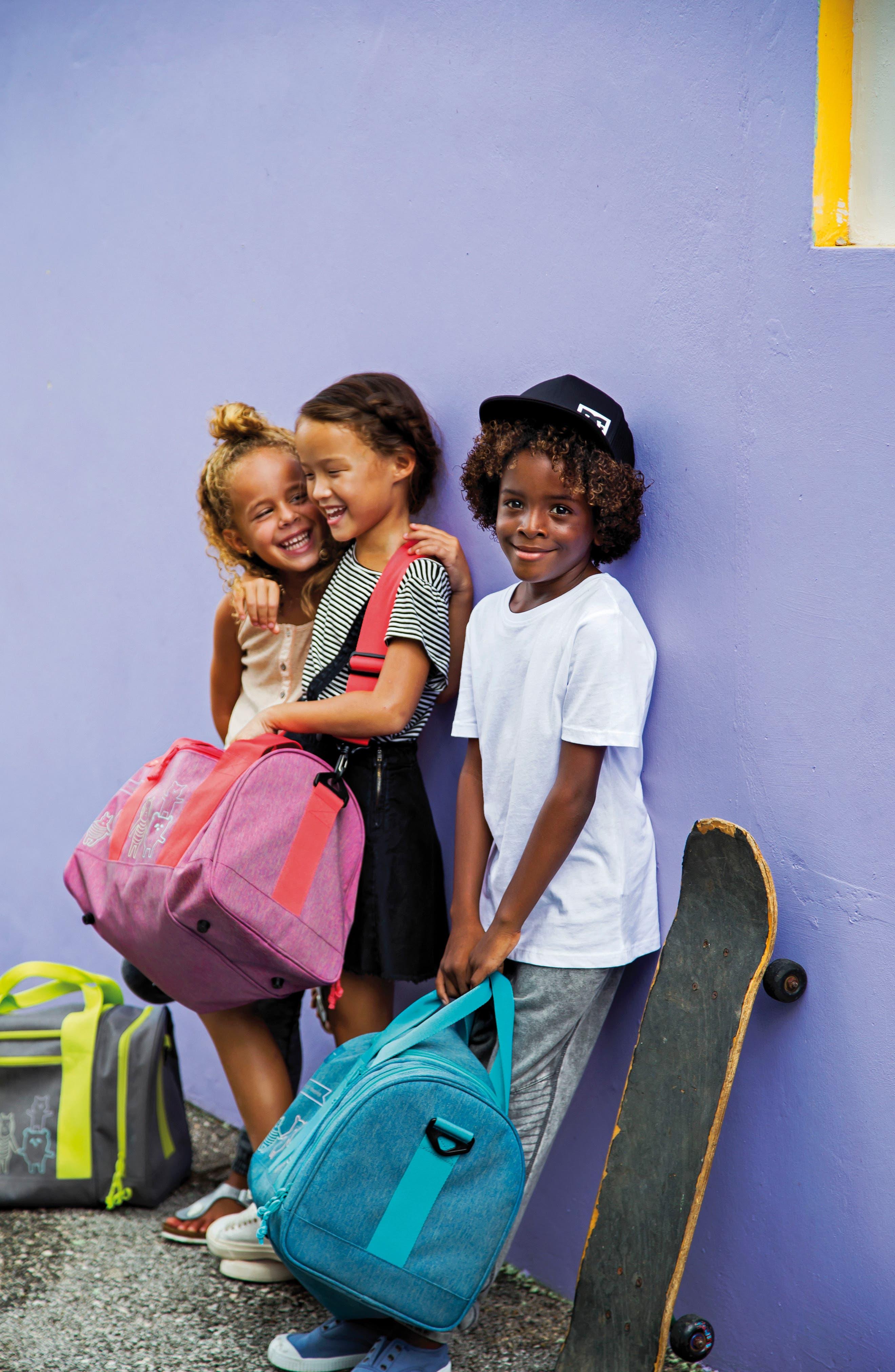 Mini About Friends Duffel Bag,                             Alternate thumbnail 4, color,                             MELANGE BLUE
