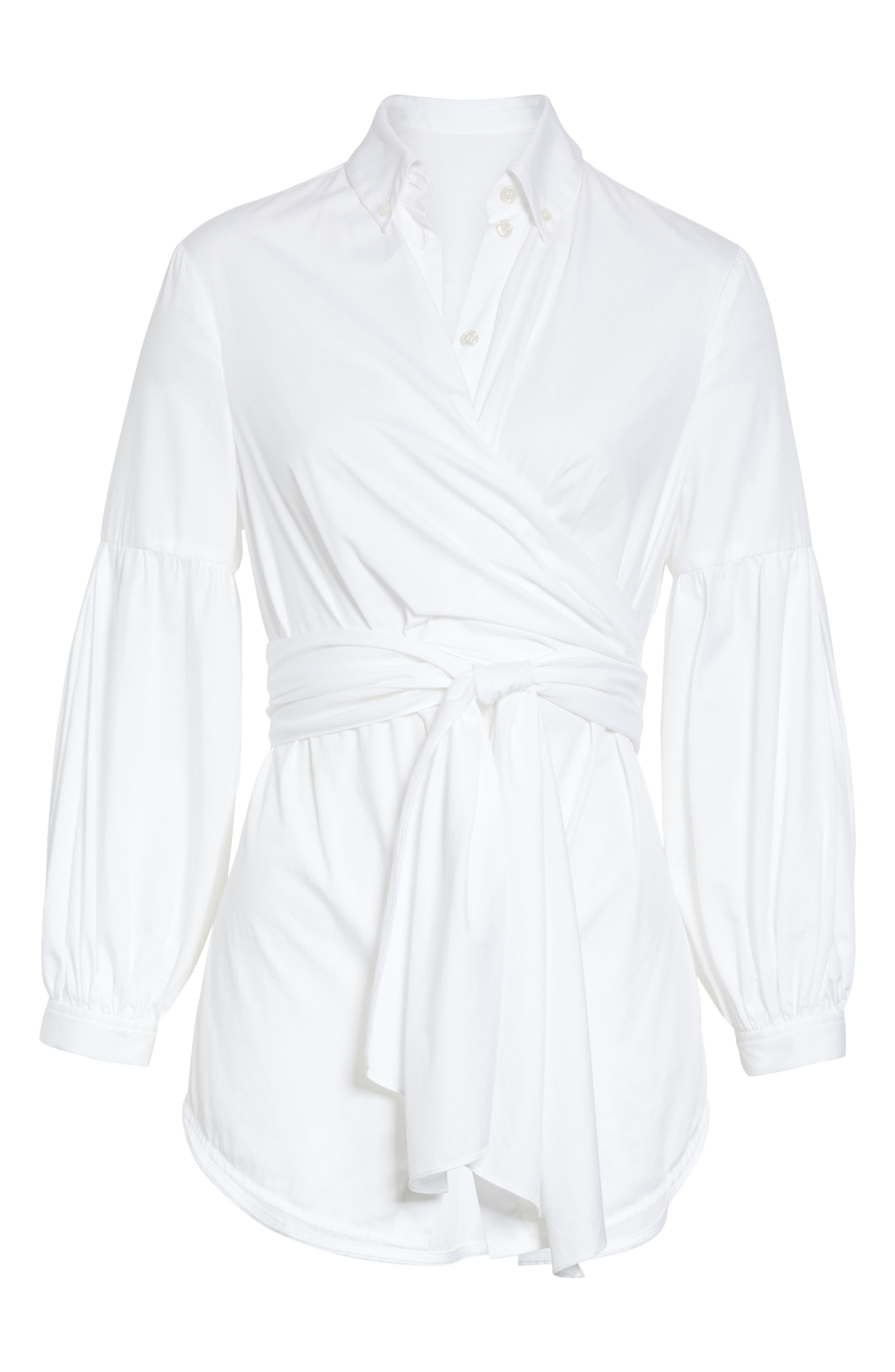 Sinclair Puff Sleeve Wrap Detail Shirt,                             Alternate thumbnail 6, color,                             WHITE
