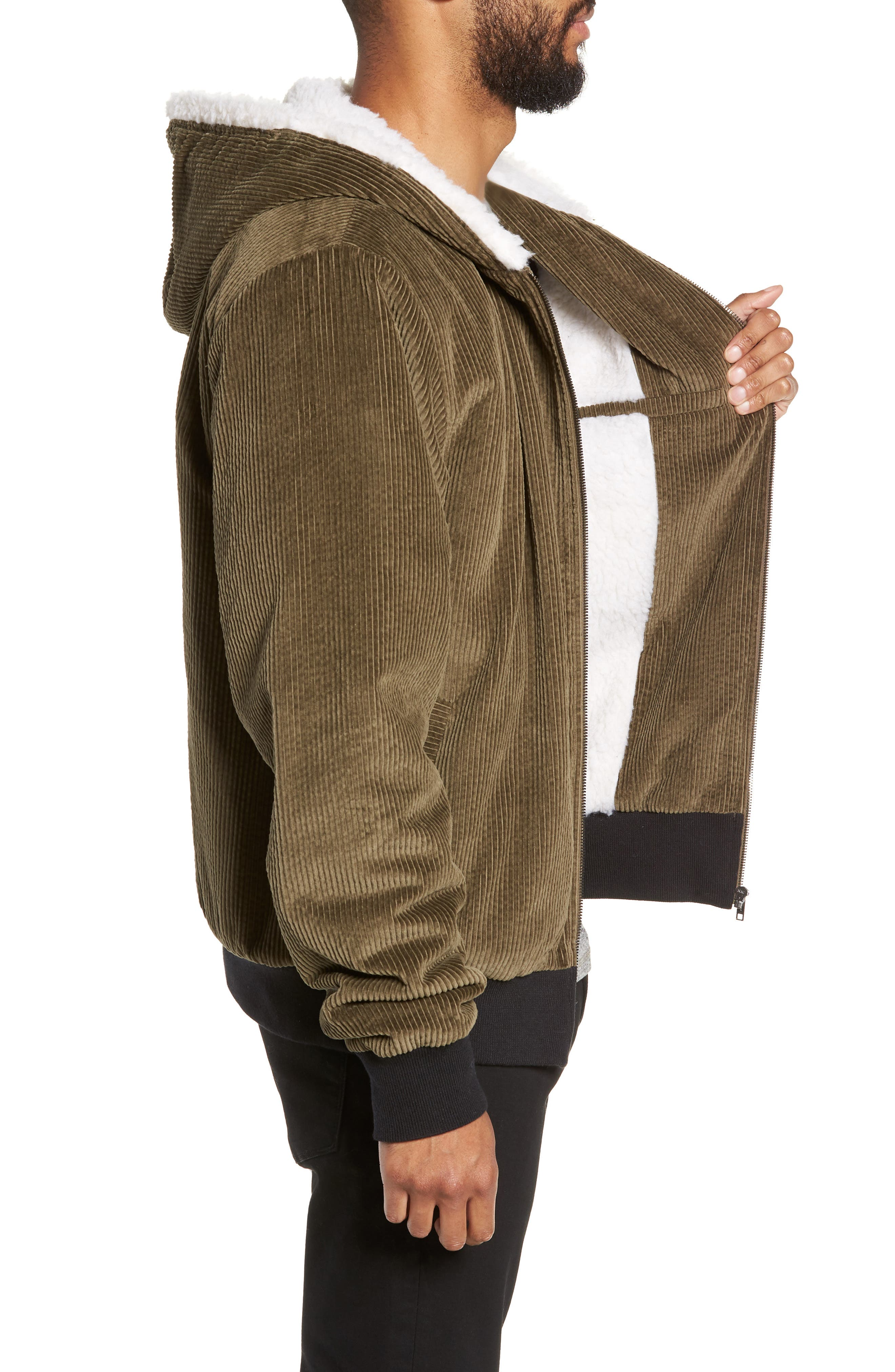 Champlain Cotton Corduroy & Faux Shearling Hooded Bomber Jacket,                             Alternate thumbnail 3, color,                             ARMY