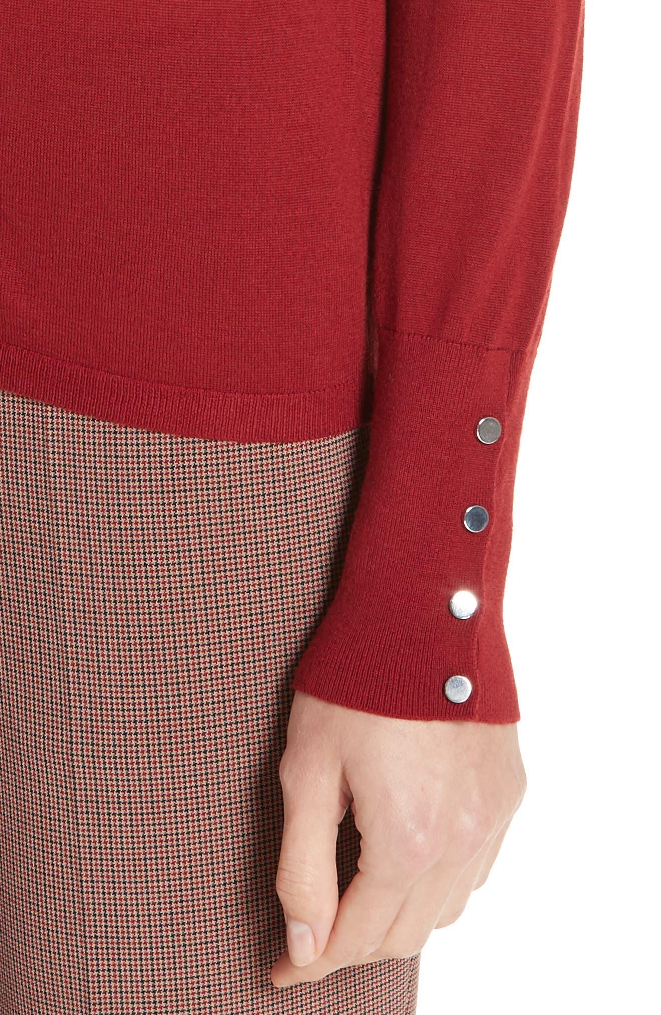 Frankie Cuff Detail Wool Sweater,                             Alternate thumbnail 4, color,                             DARK RED