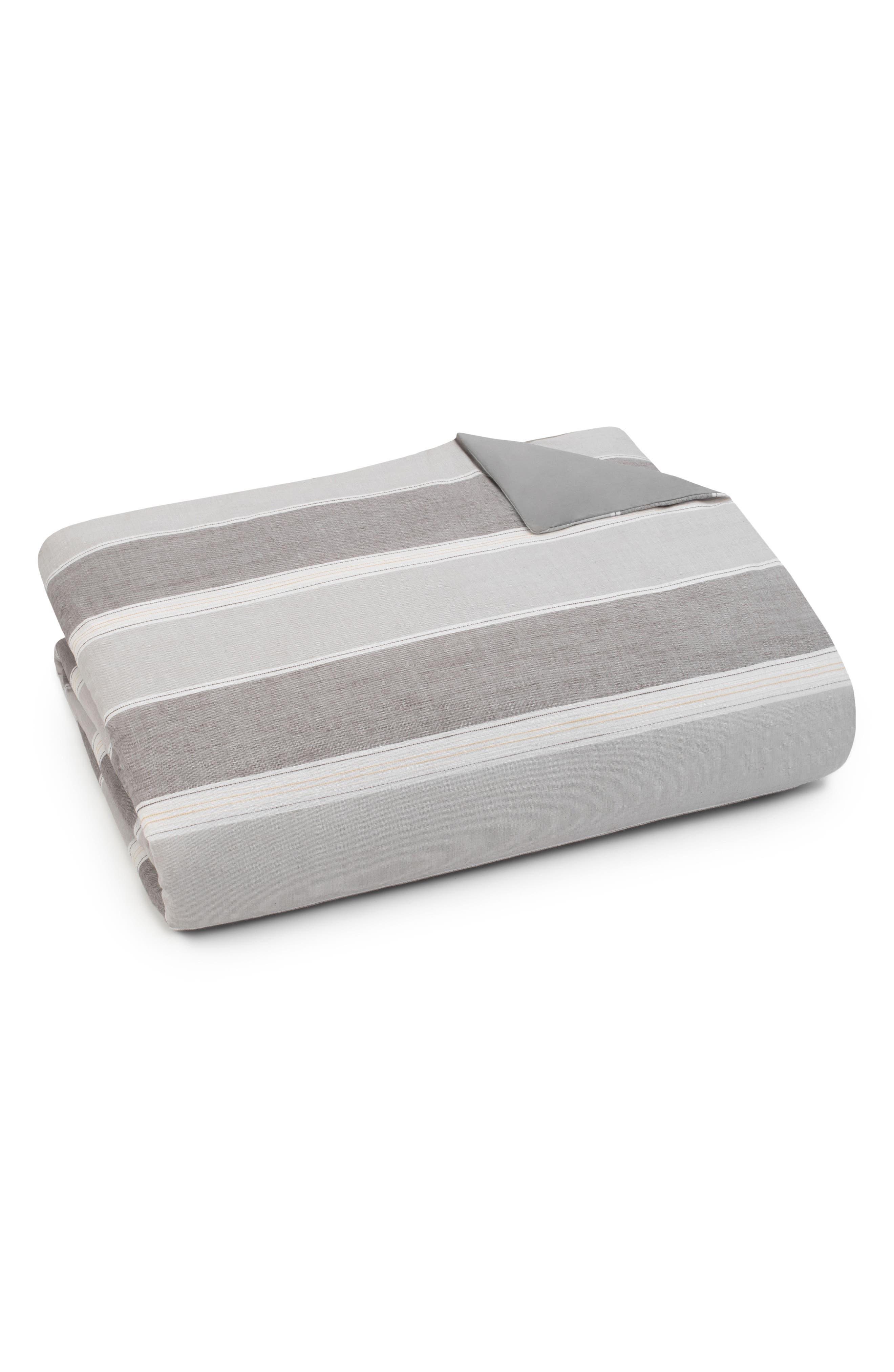 Oxford Stripe Duvet Cover,                         Main,                         color, GREY MULTI