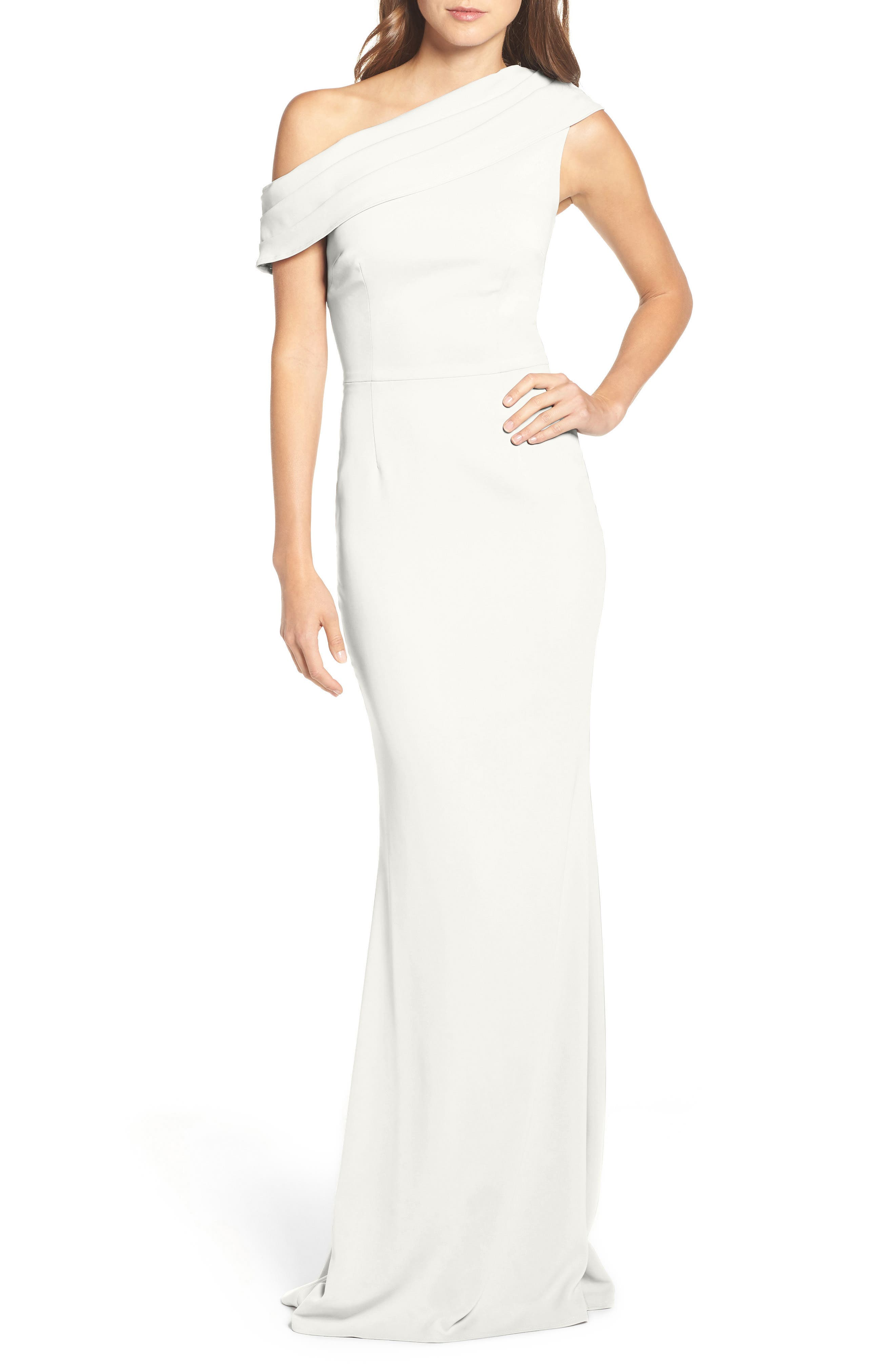 Layla Pleat One-Shoulder Crepe Gown,                             Alternate thumbnail 6, color,                             IVORY