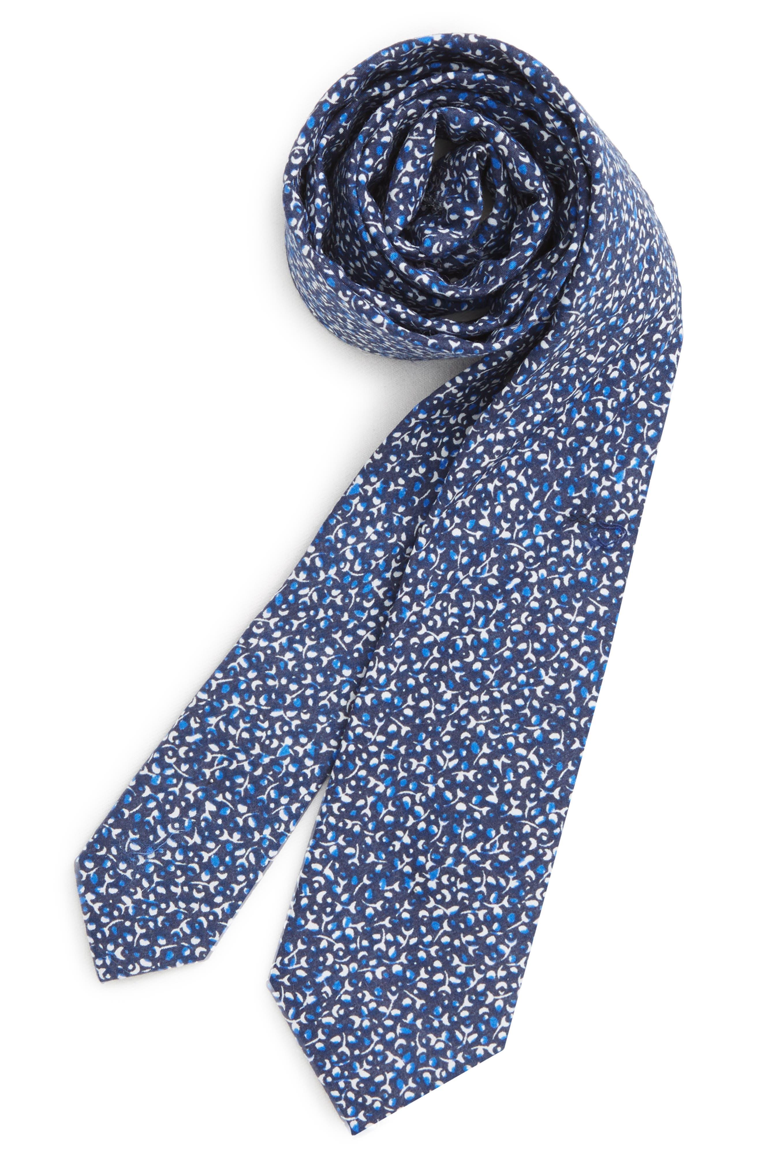 Floral Cotton Tie,                         Main,                         color, NAVY