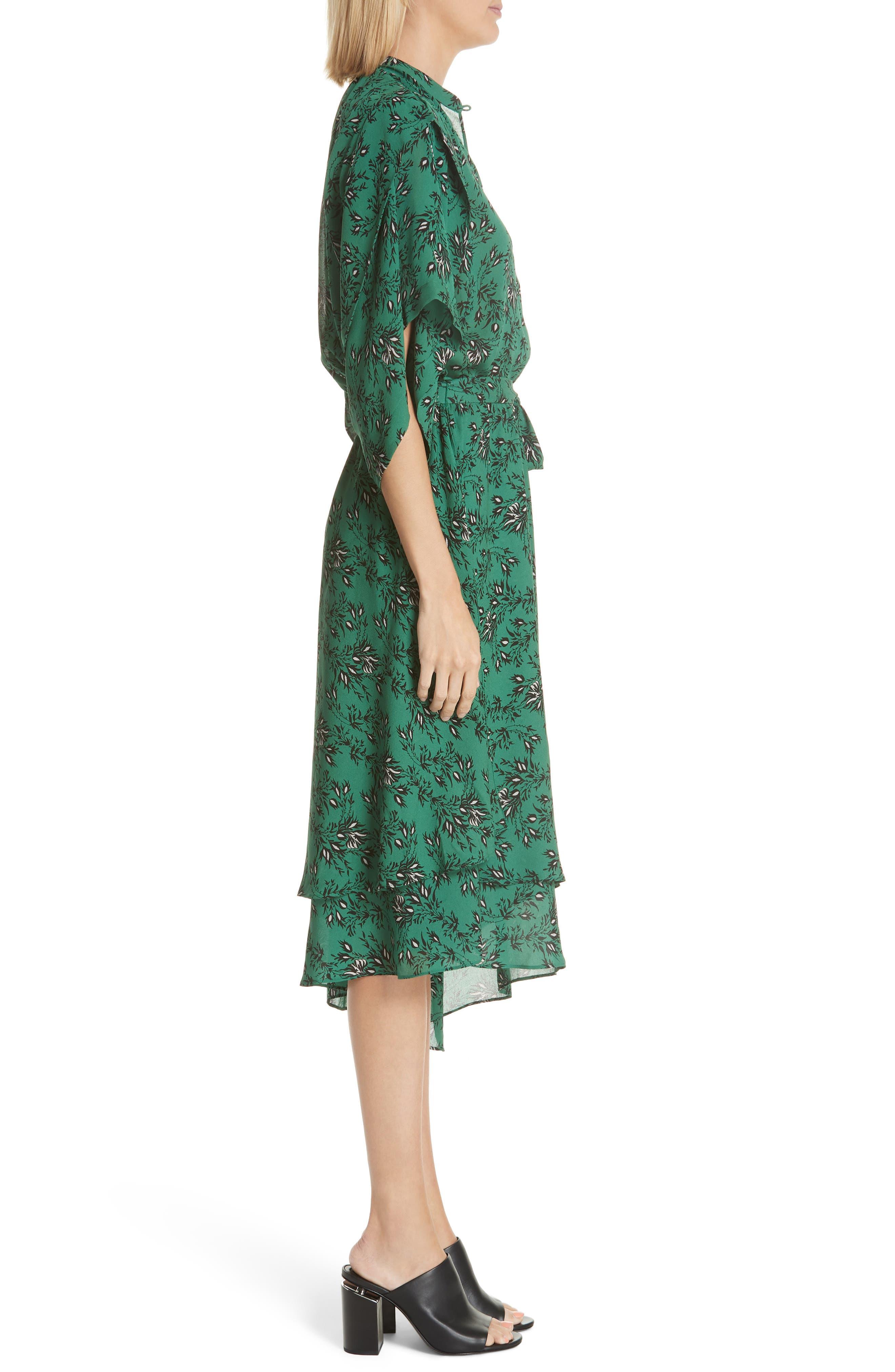 Japanese Floral Midi Dress,                             Alternate thumbnail 3, color,                             EMERALD ORCHID