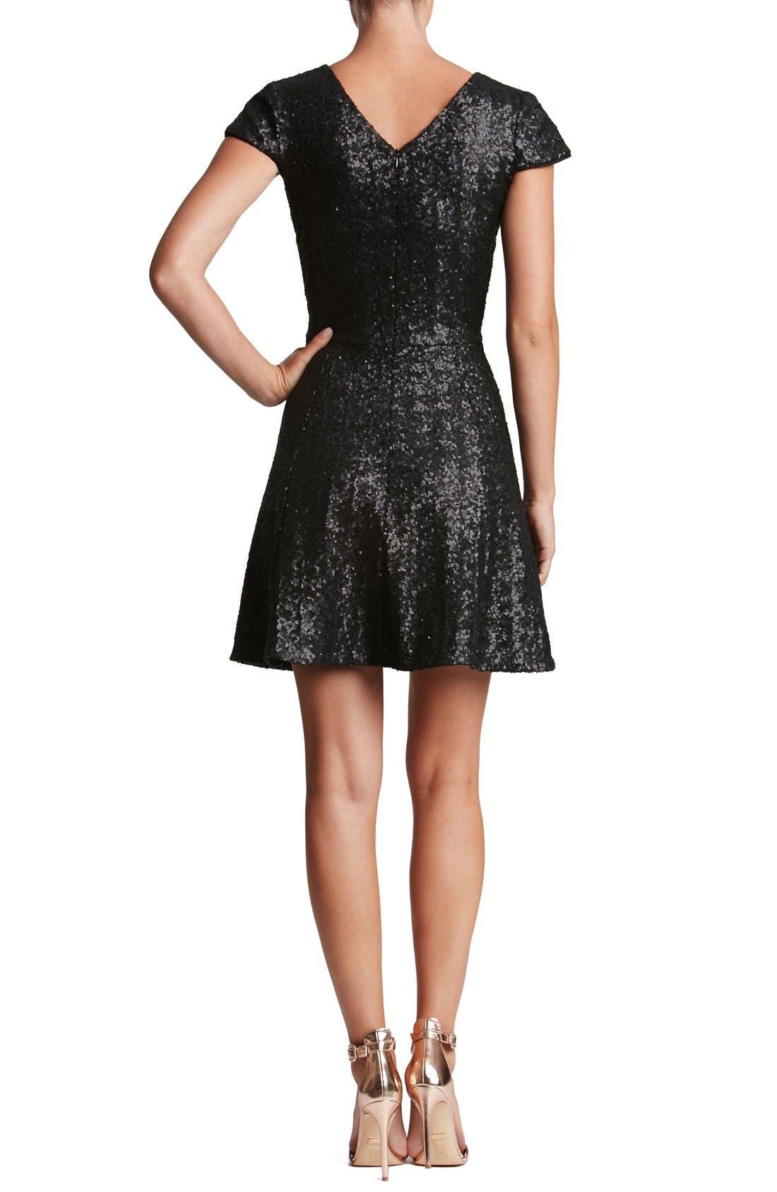 Georgina Sequin Fit & Flare Dress,                             Alternate thumbnail 3, color,                             001