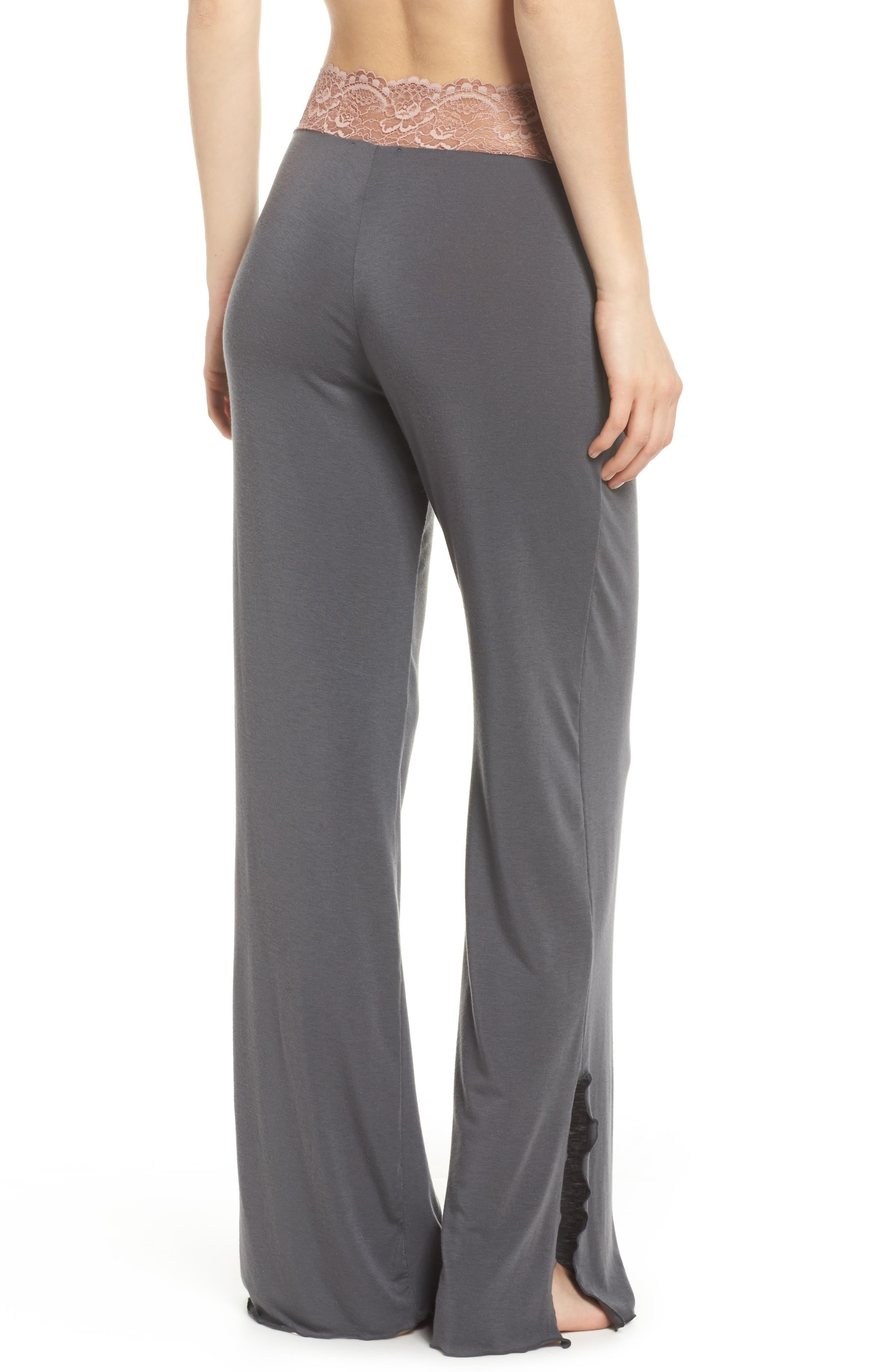 Lace Trim Pants,                             Alternate thumbnail 2, color,                             SLATE WITH JAVA LACE