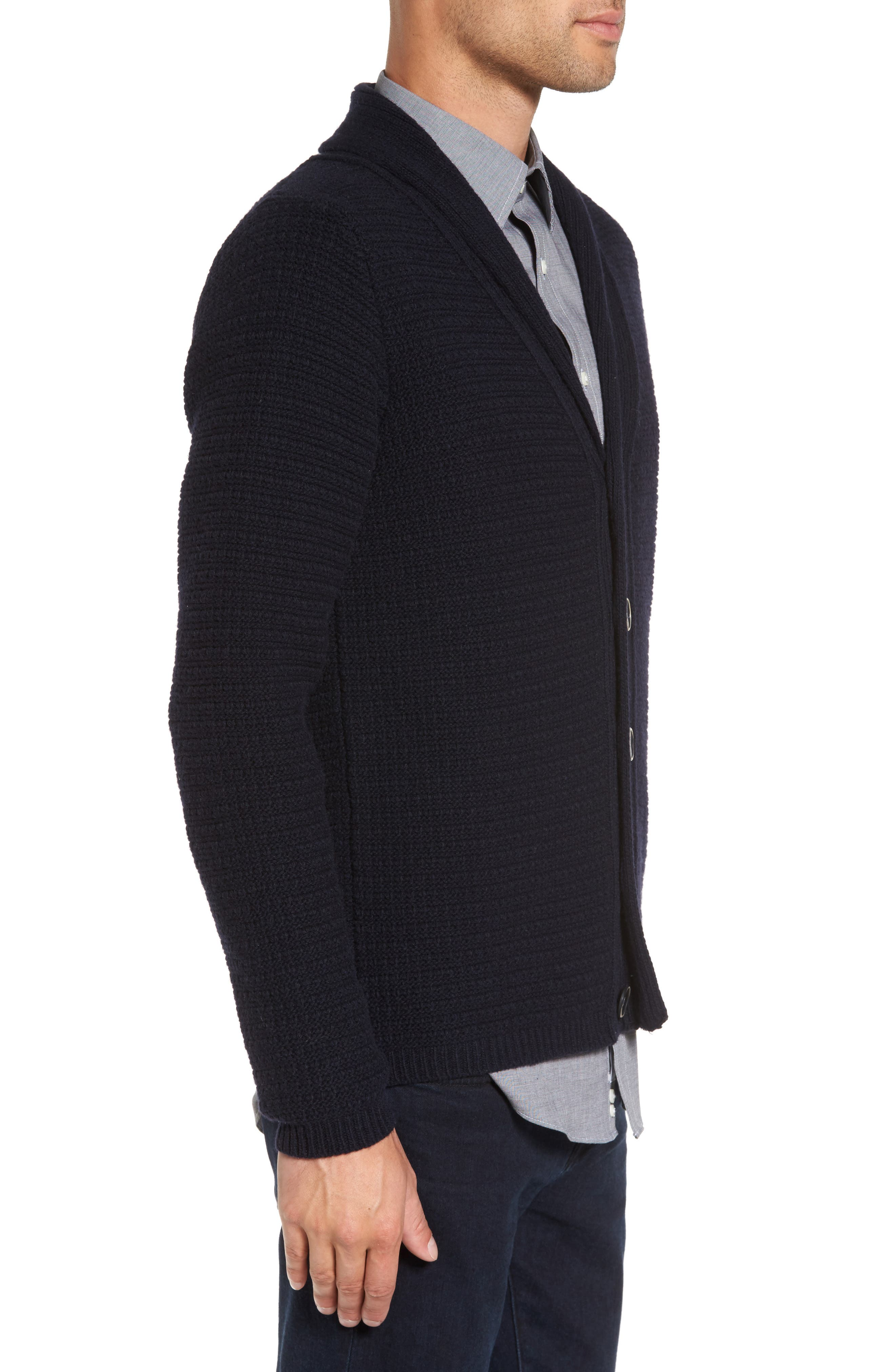 Shawl Collar Button Cardigan,                             Alternate thumbnail 3, color,