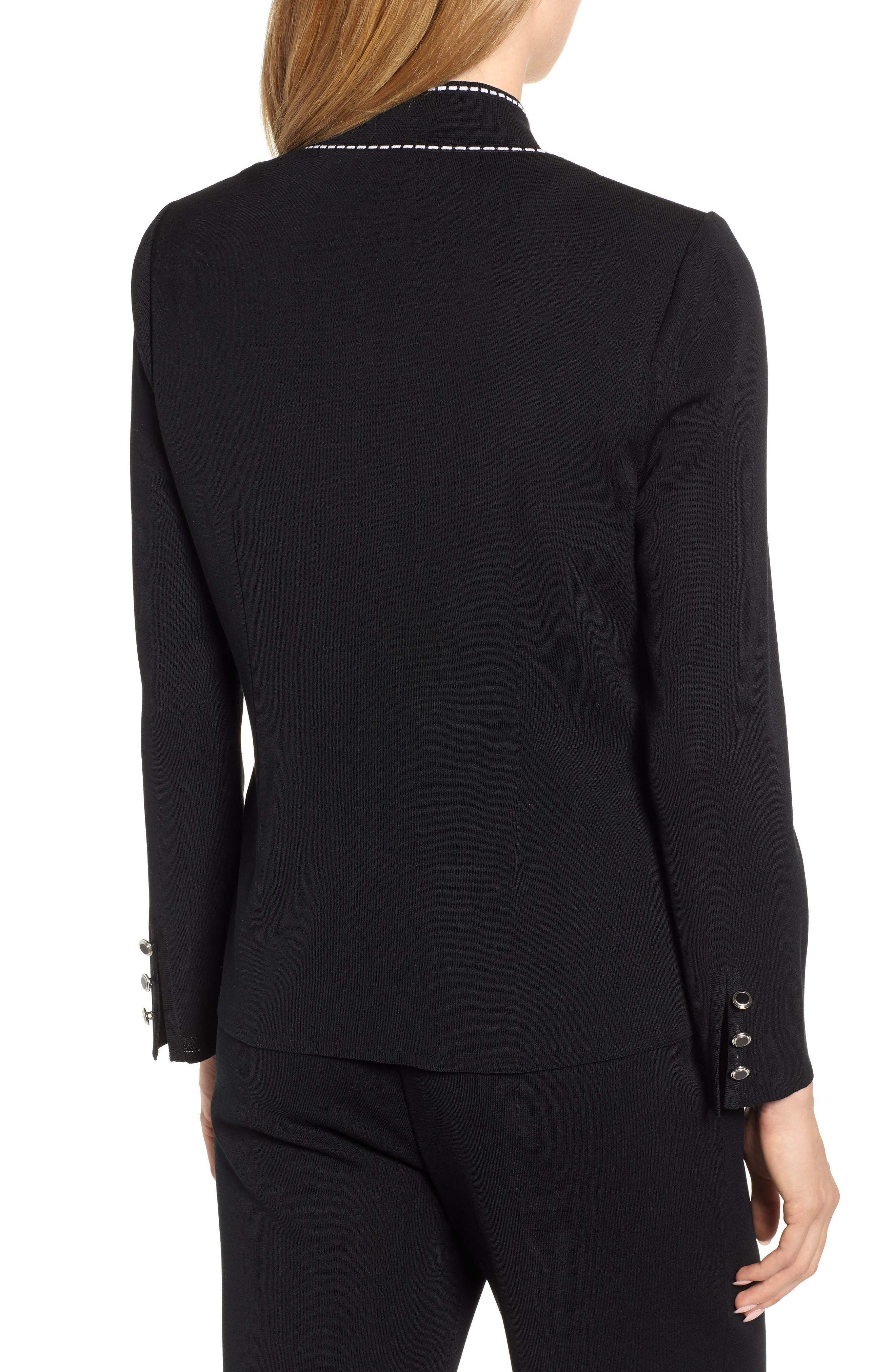 Contrast Jacquard Sweater Jacket,                             Alternate thumbnail 2, color,                             BLACK/ WHITE
