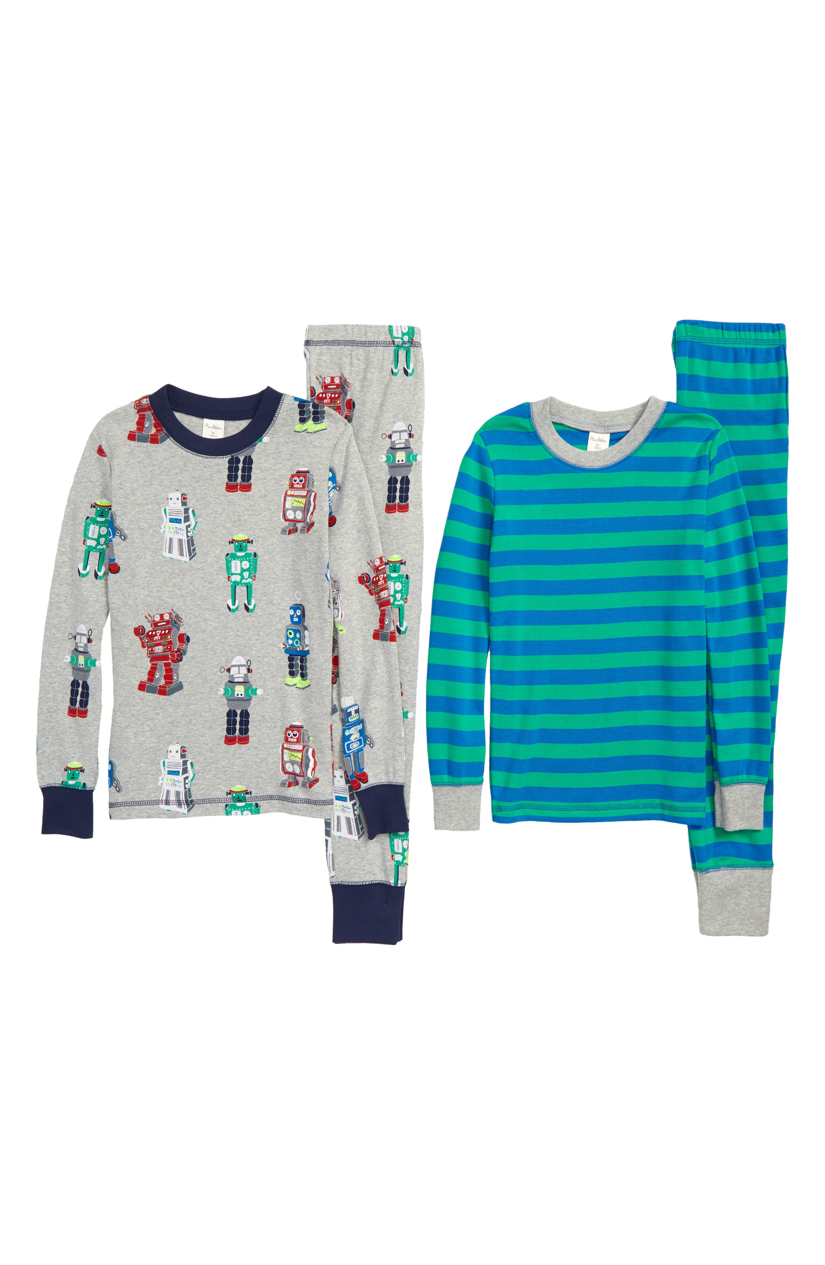 Cosy 2-Pack Fitted Two-Piece Pajamas,                             Main thumbnail 1, color,                             MLT GREY MARL RETRO ROBOTS