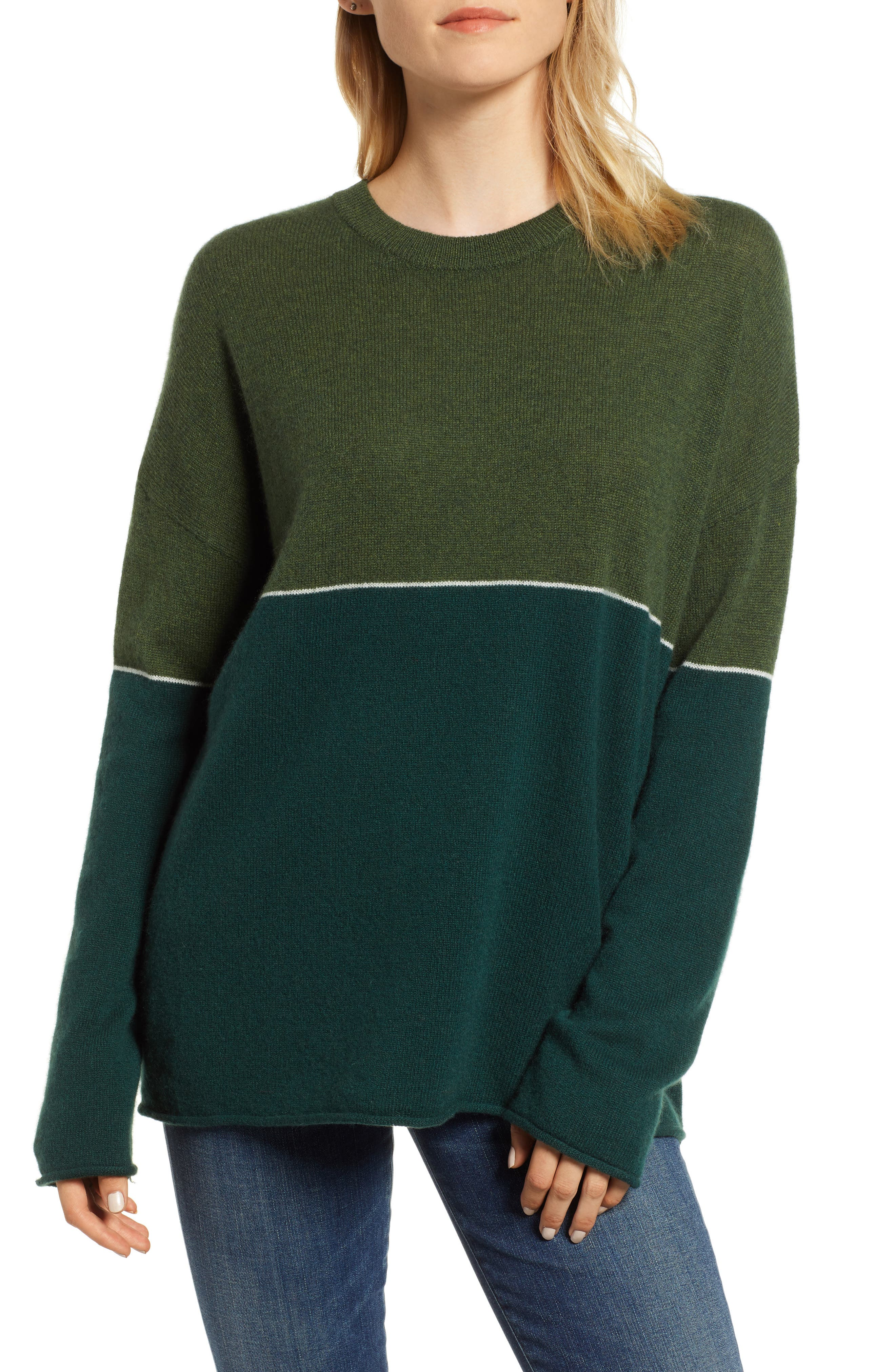 Cashmere Colorblock Sweater,                             Main thumbnail 1, color,                             FOREST/ ARMY