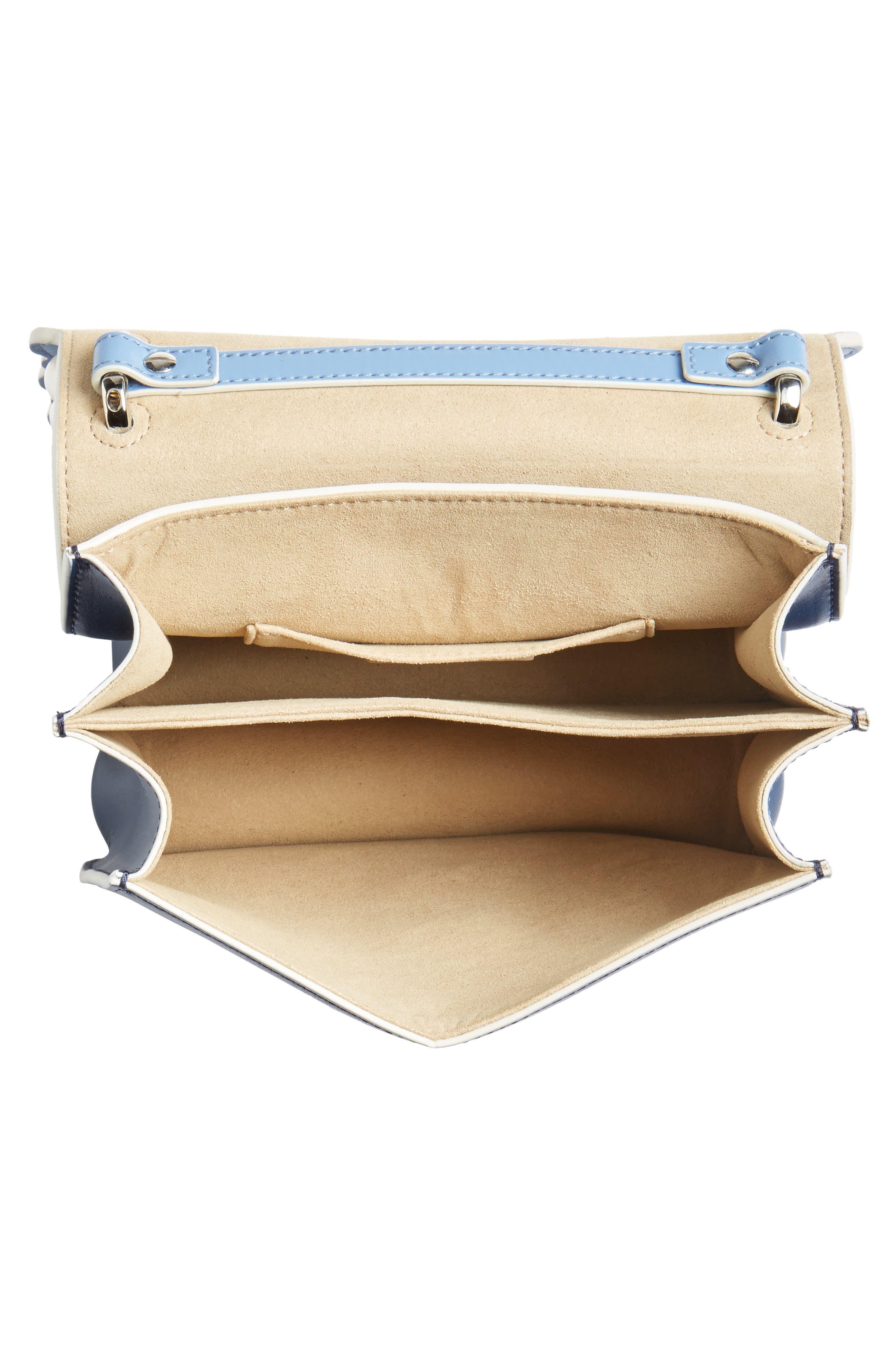 Mini Kan I Imitation Pearl Scallop Leather Shoulder Bag,                             Alternate thumbnail 4, color,                             BLUE