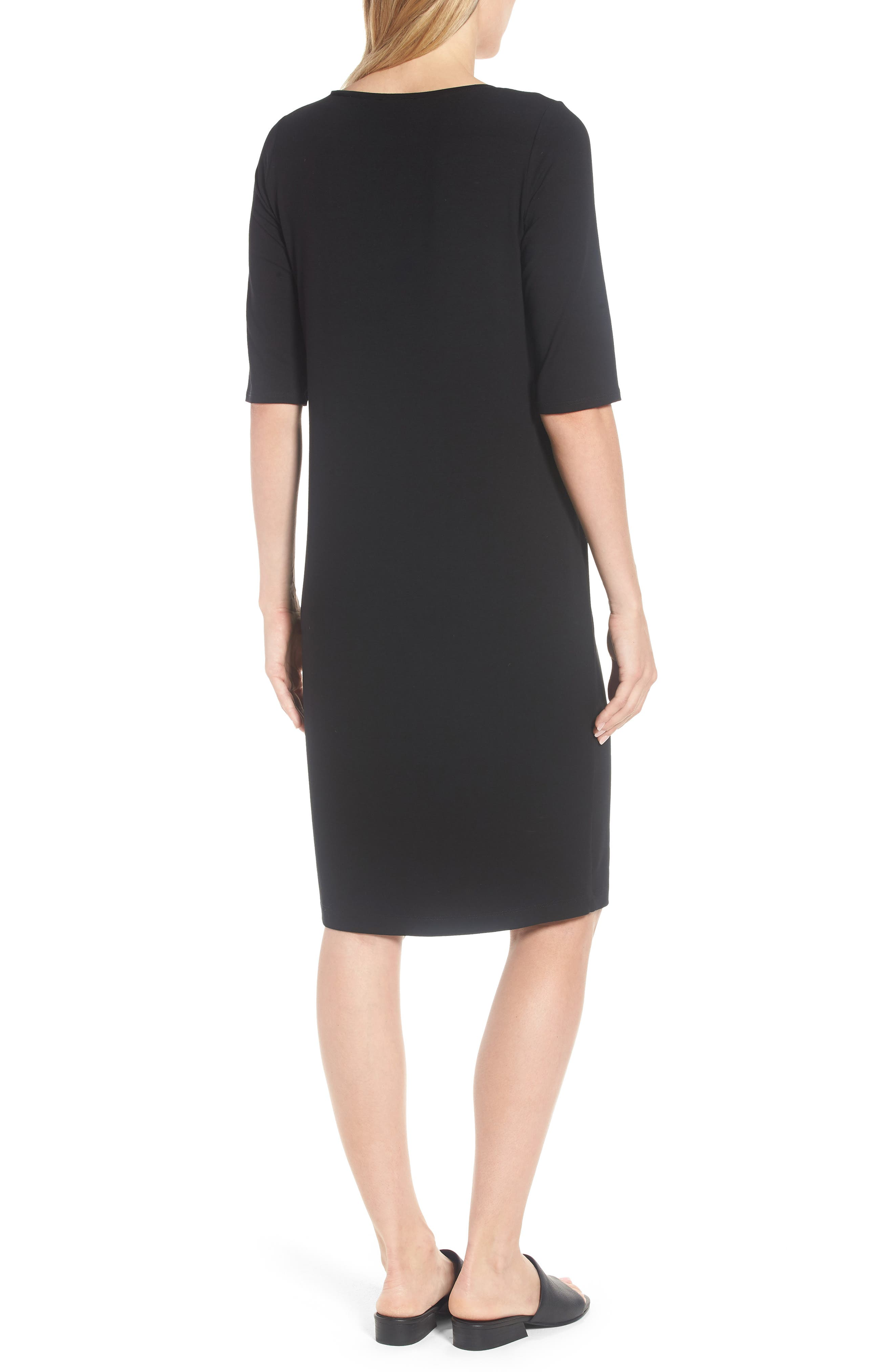 Stretch Jersey Shift Dress,                             Alternate thumbnail 2, color,                             001