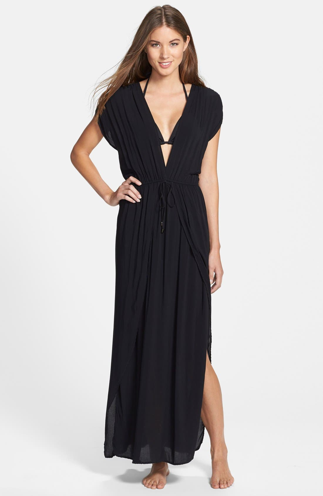 ELAN Deep V-Neck Cover-Up Maxi Dress in Black