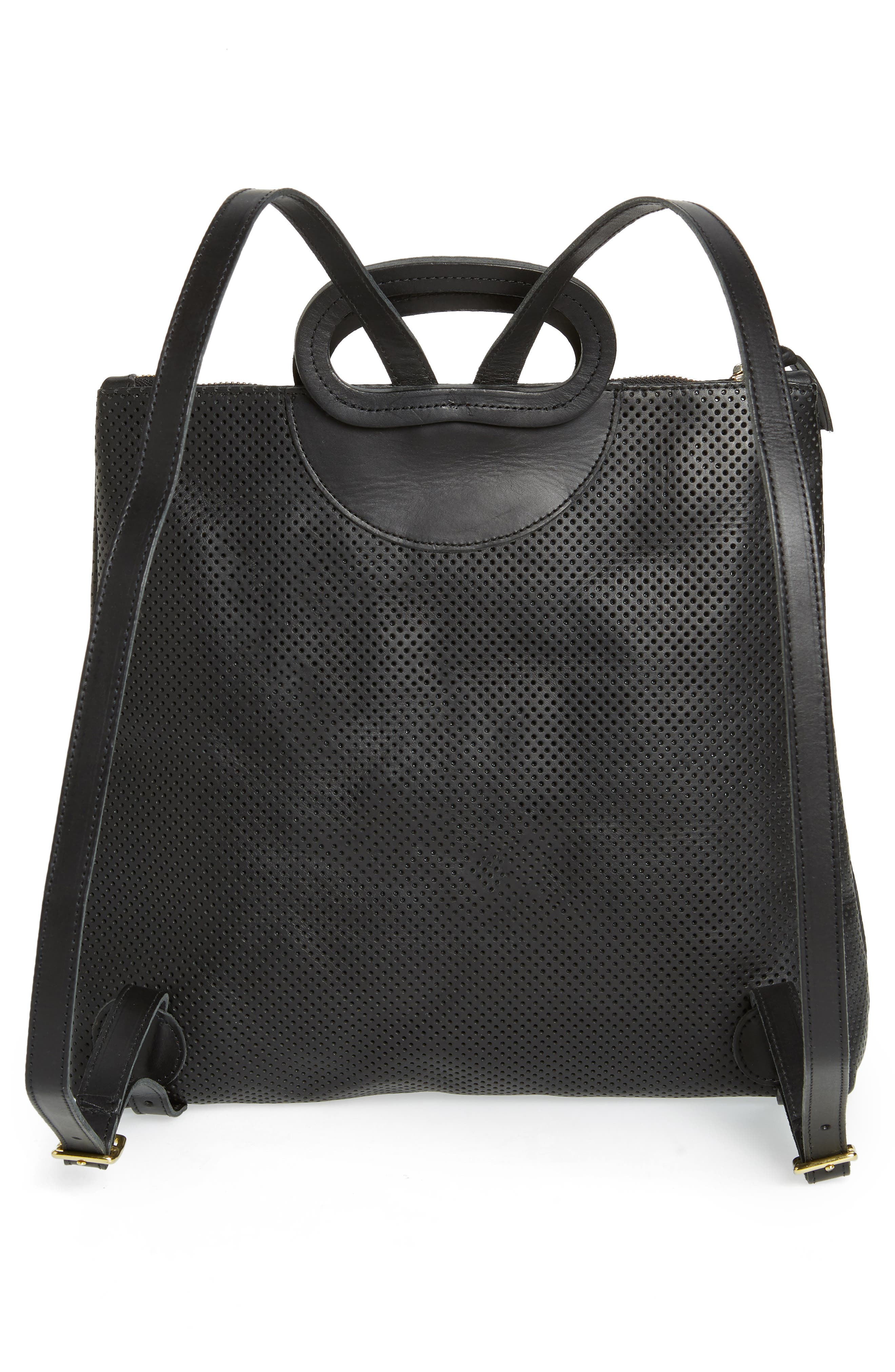 Marcelle Perforated Leather Backpack,                             Alternate thumbnail 3, color,                             BLACK PERF WITH NAVY/ RED
