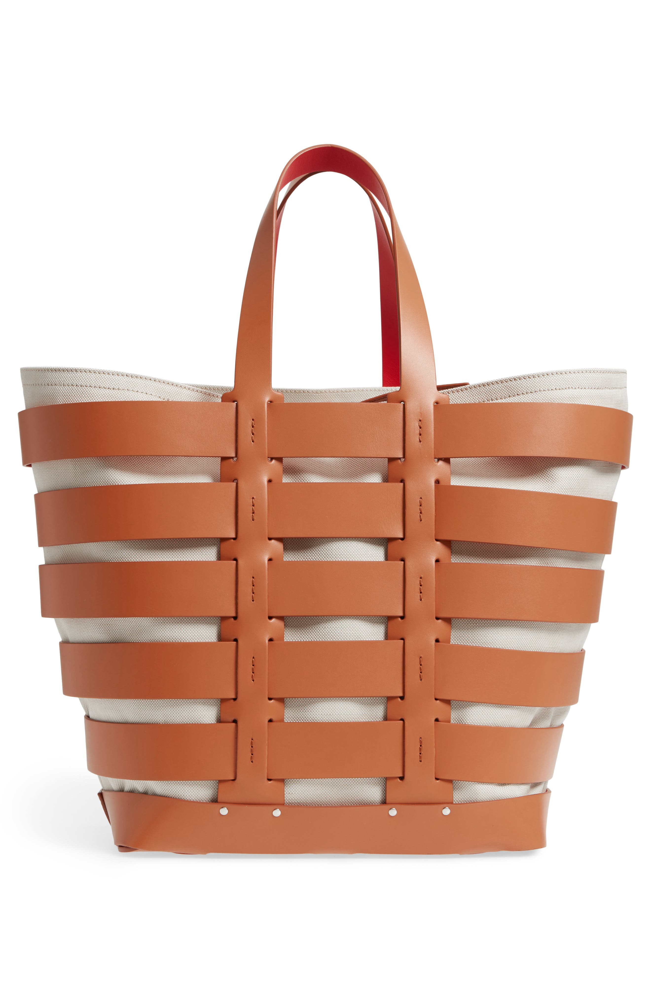 Cage Leather & Canvas Tote,                             Alternate thumbnail 3, color,                             CAMEL