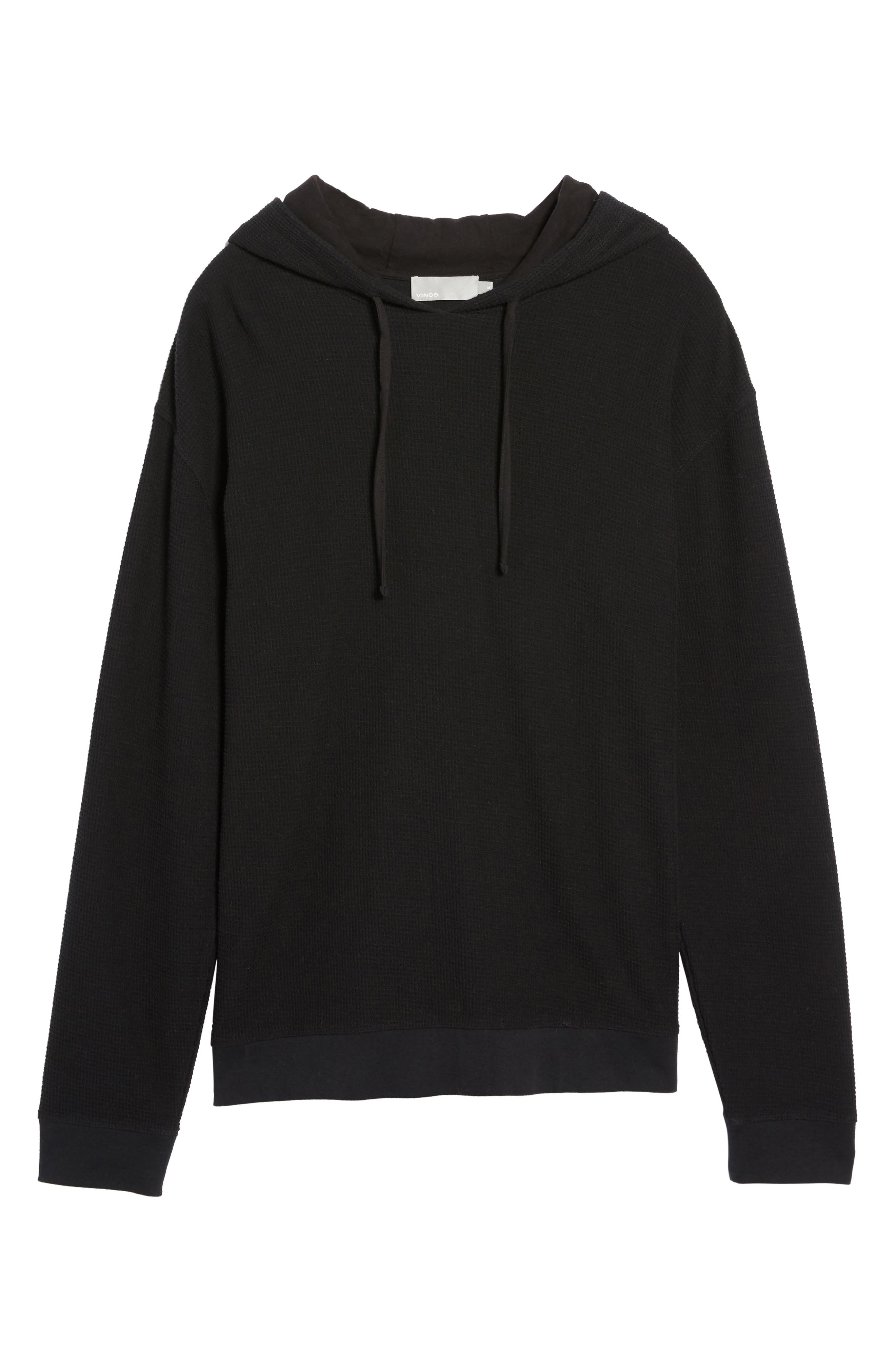Waffle Knit Pullover Hoodie,                             Alternate thumbnail 6, color,                             001
