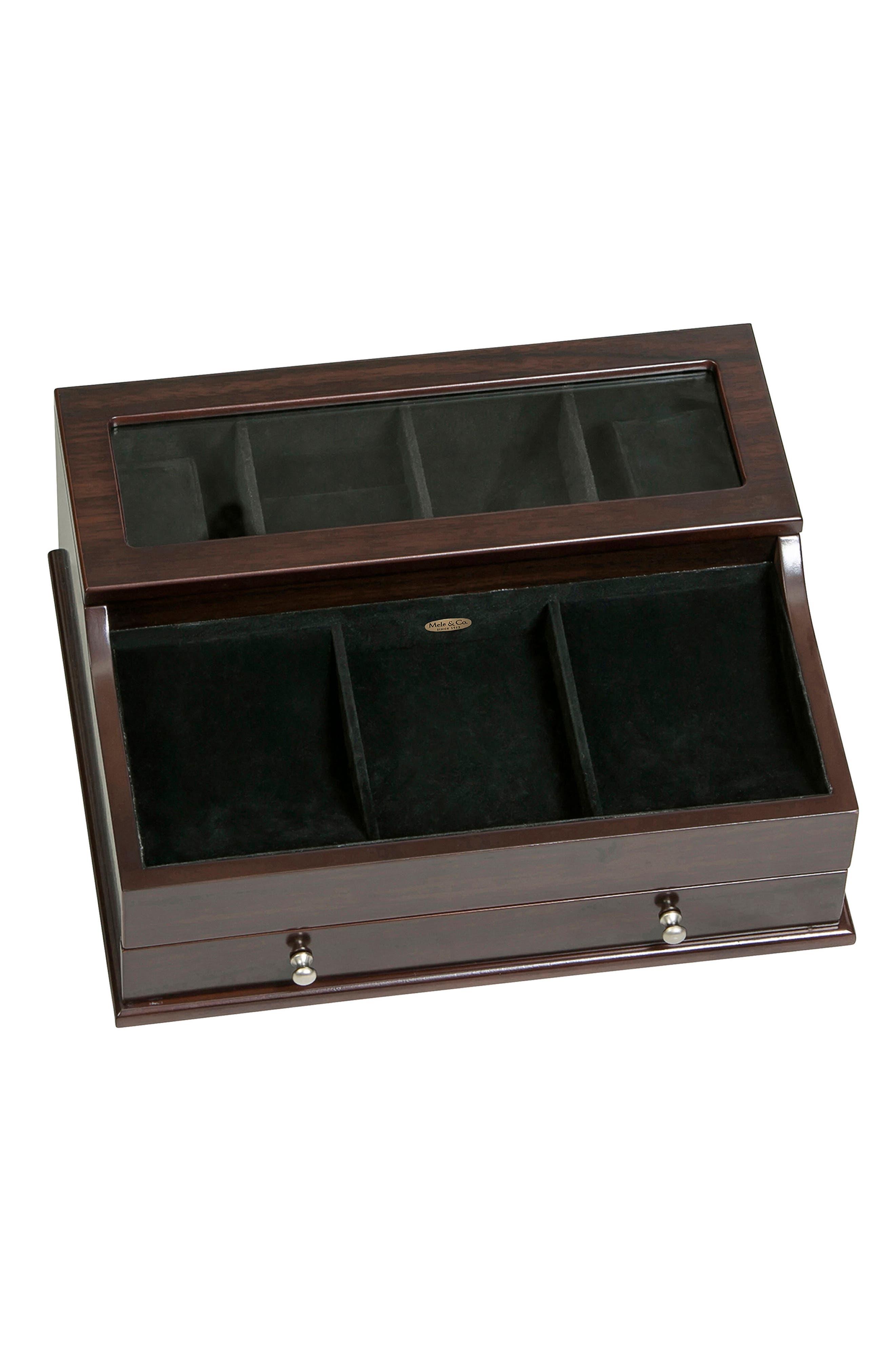 Hampden Glass Top Valet Box,                             Main thumbnail 1, color,                             BROWN