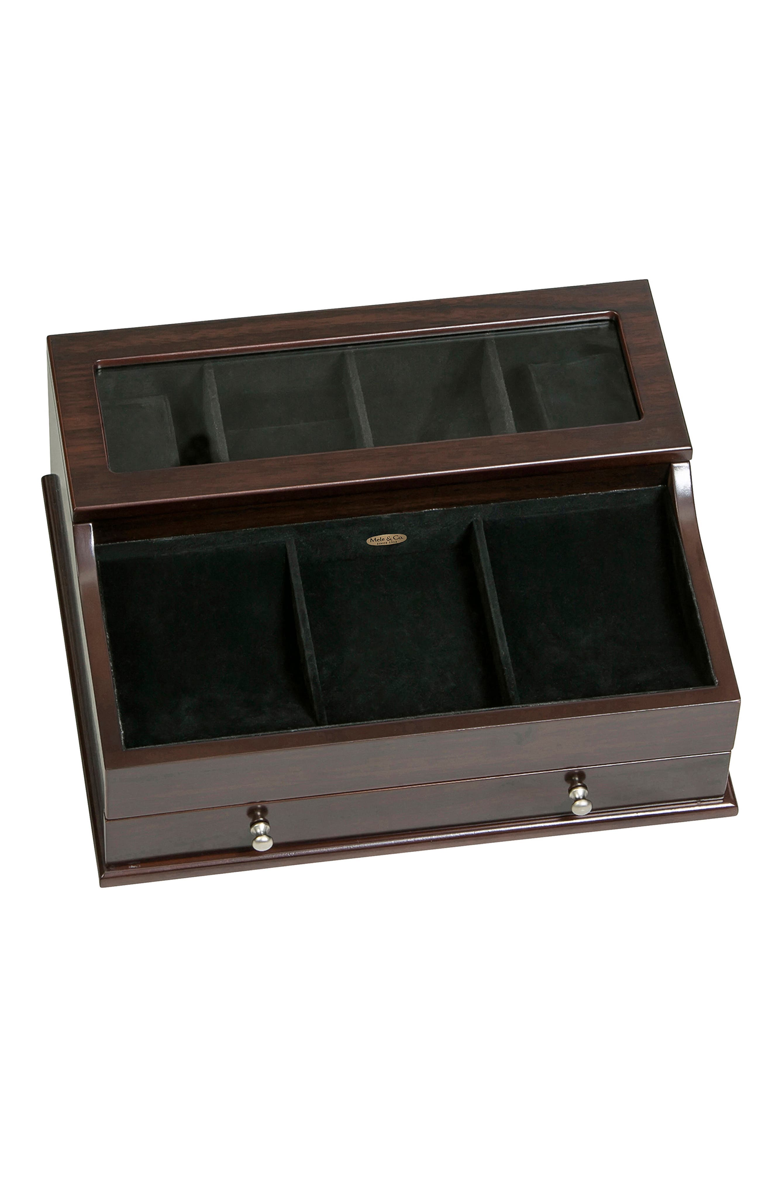 Hampden Glass Top Valet Box,                         Main,                         color, BROWN