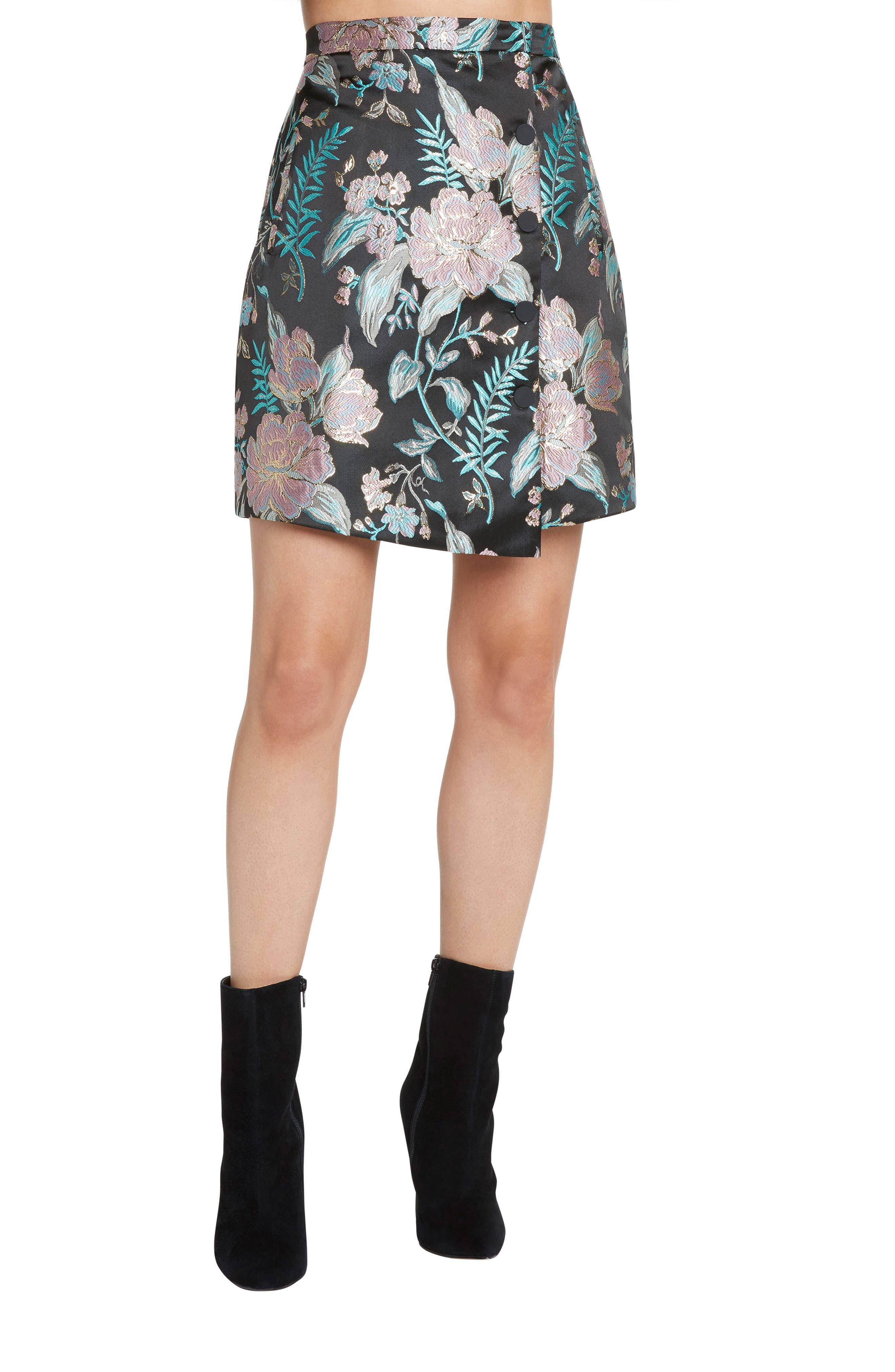 Floral Jacquard Skirt,                         Main,                         color, BLACK