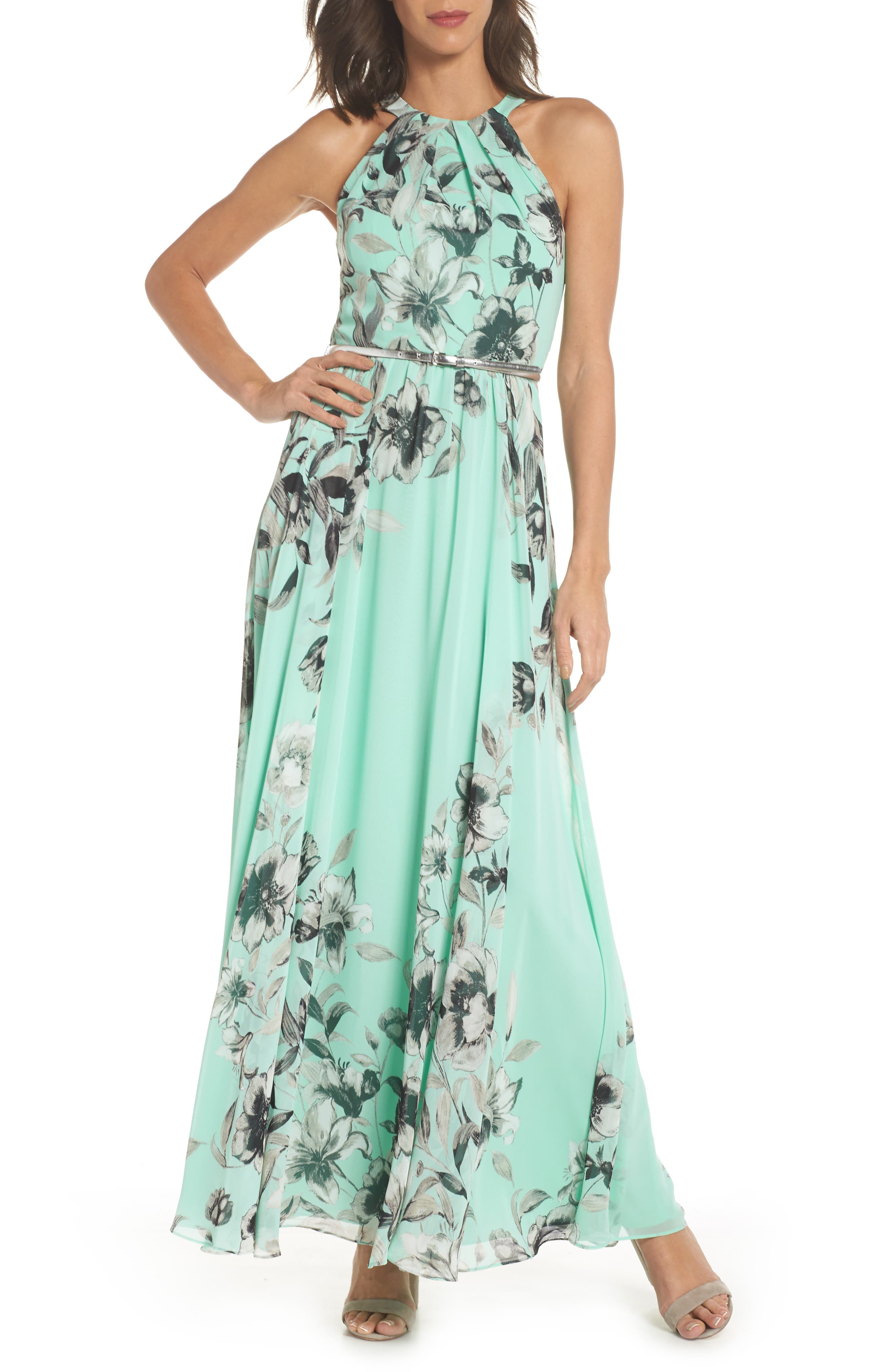 Belted Chiffon Maxi Dress,                             Main thumbnail 1, color,                             MINT