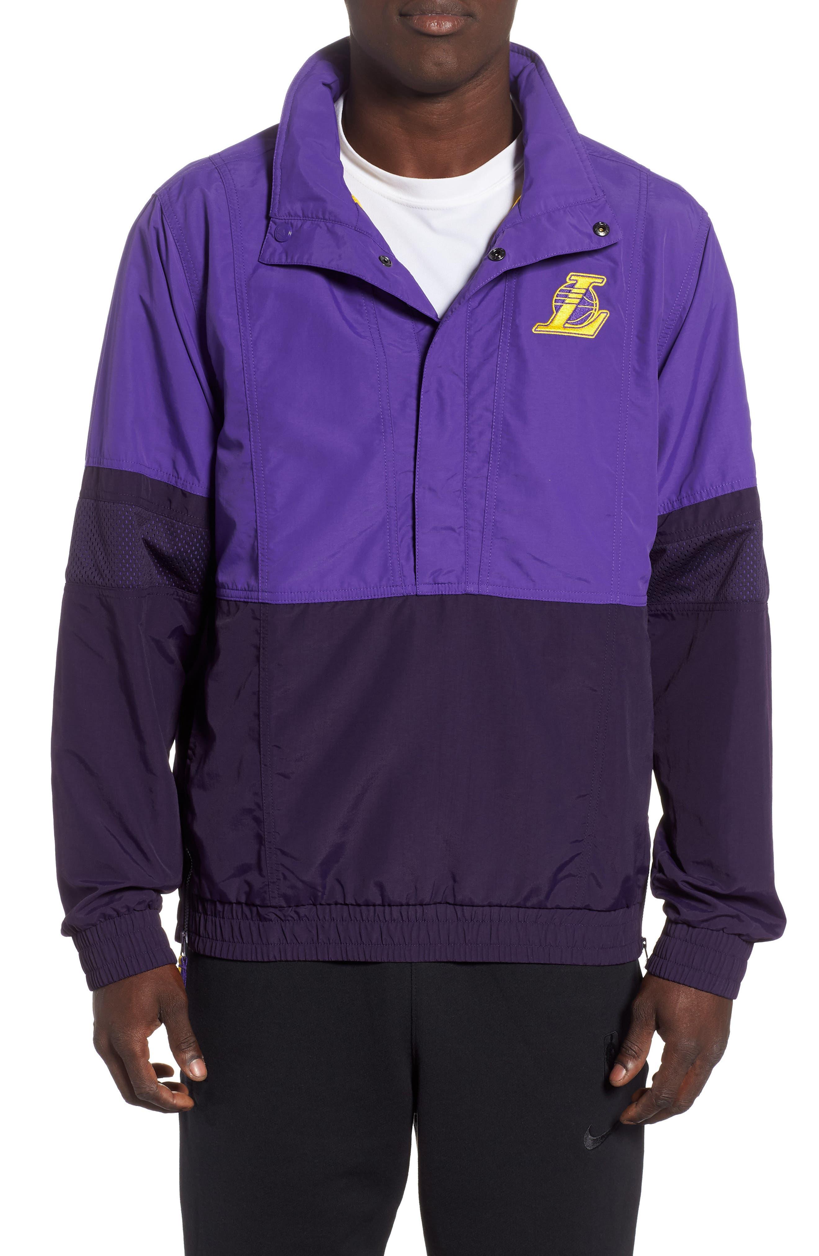 Los Angeles Lakers Courtside Warm-Up Jacket,                             Main thumbnail 1, color,                             FIELD PURPLE/PURPLE/ AMARILLO