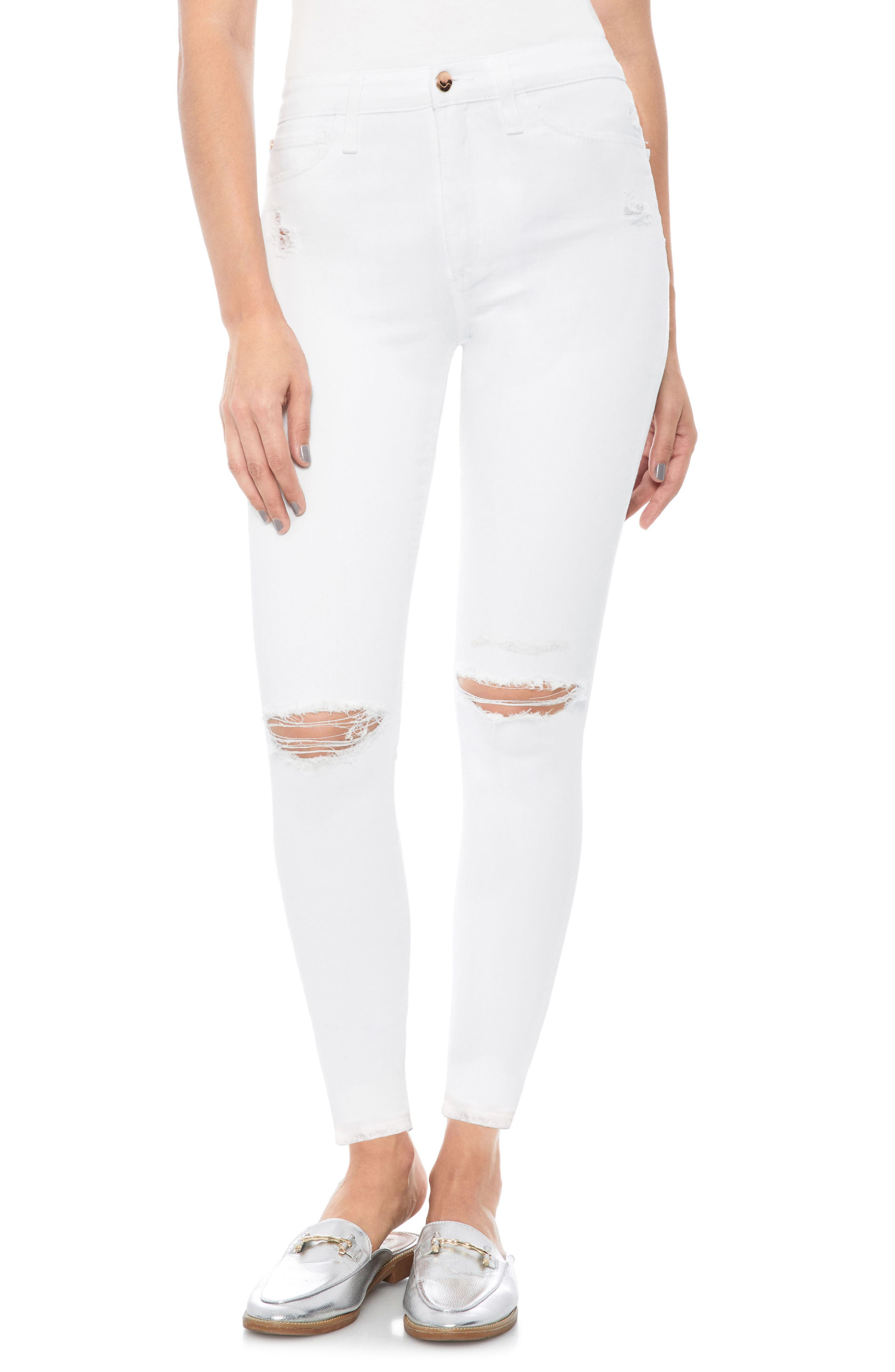 The Charlie Ripped Ankle Skinny Jeans,                         Main,                         color, 100