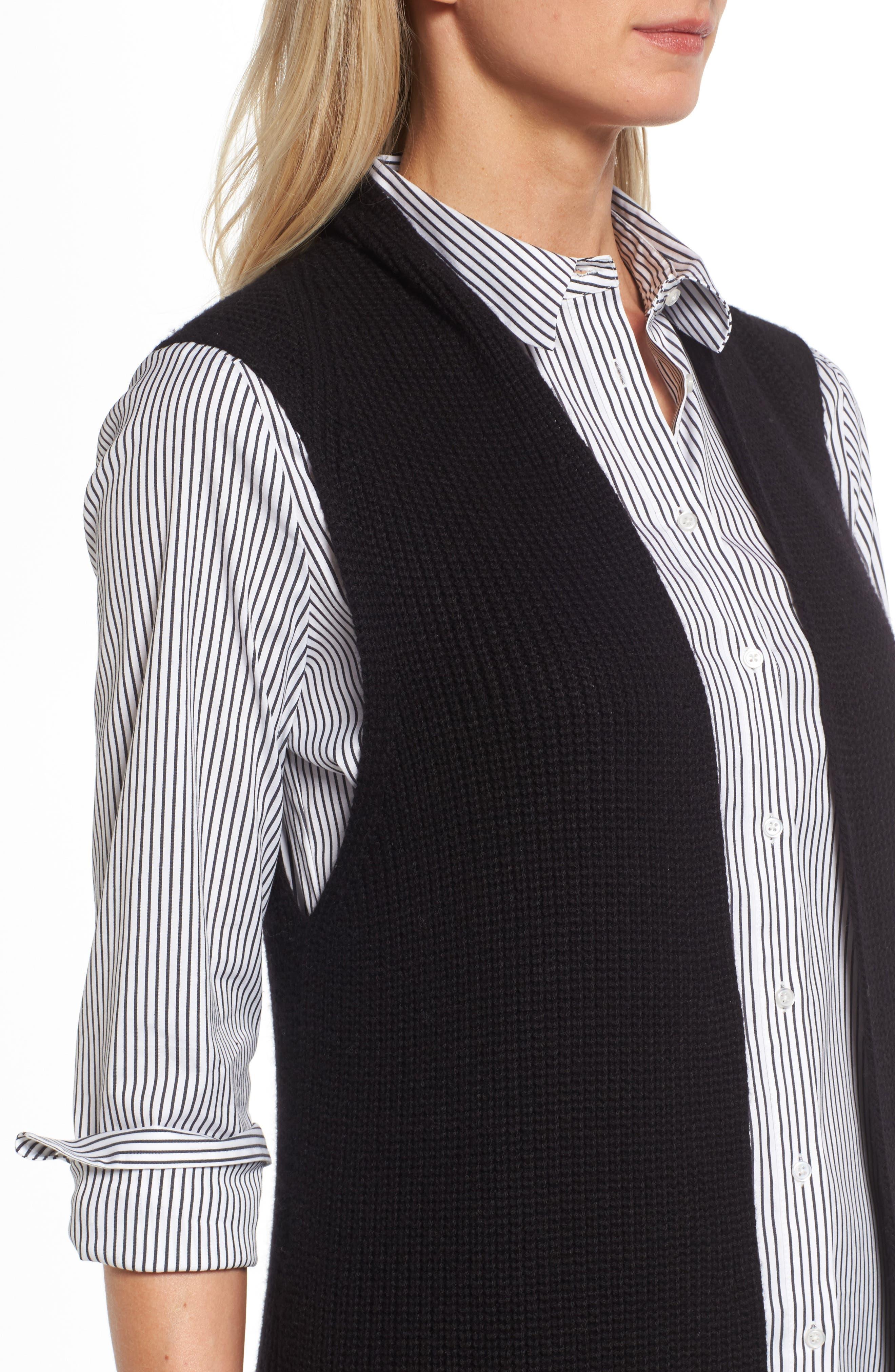 HALOGEN<SUP>®</SUP>,                             Long Knit Vest,                             Alternate thumbnail 4, color,                             001