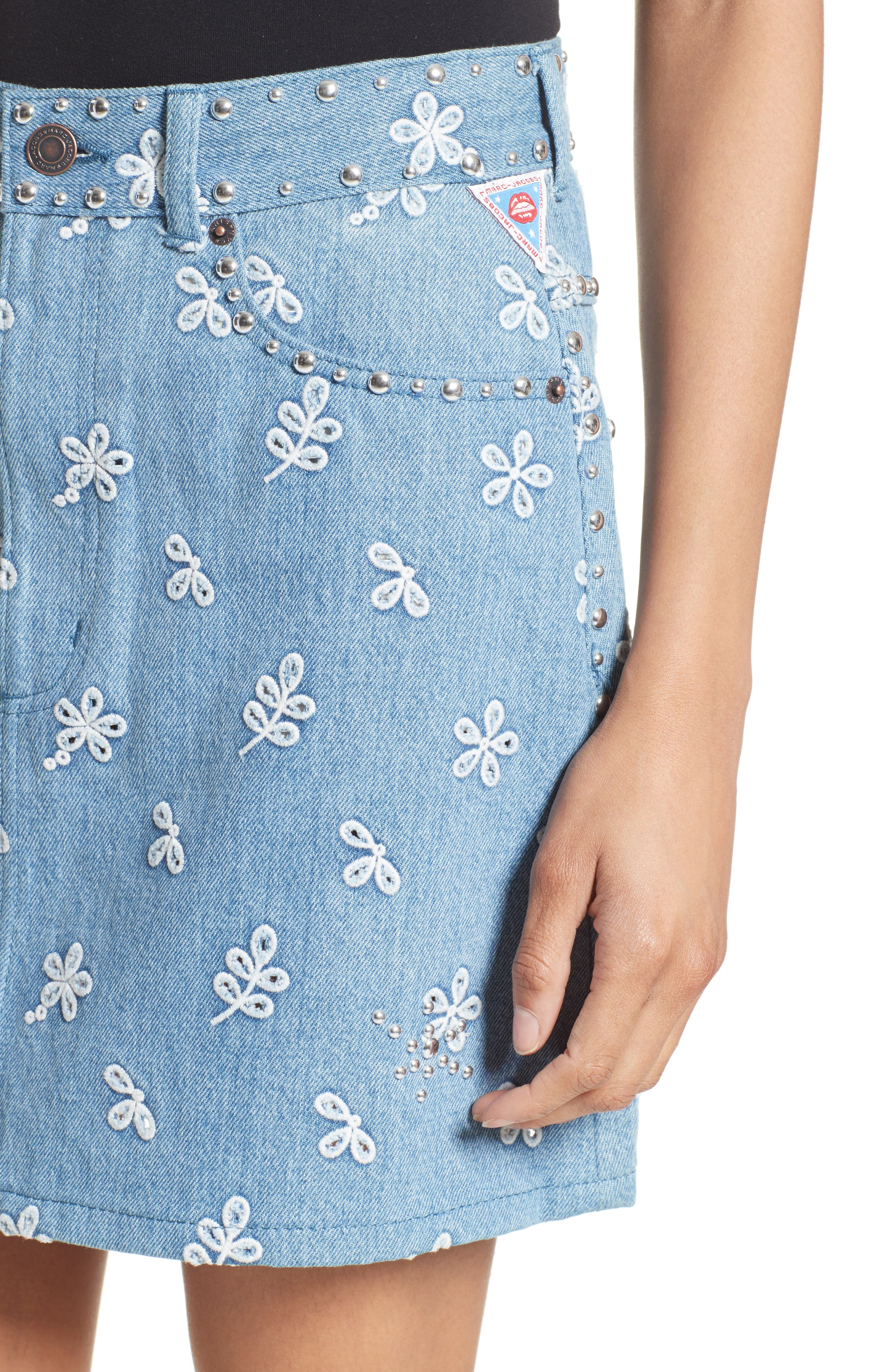 Broderie Anglaise Denim Miniskirt,                             Alternate thumbnail 4, color,                             400