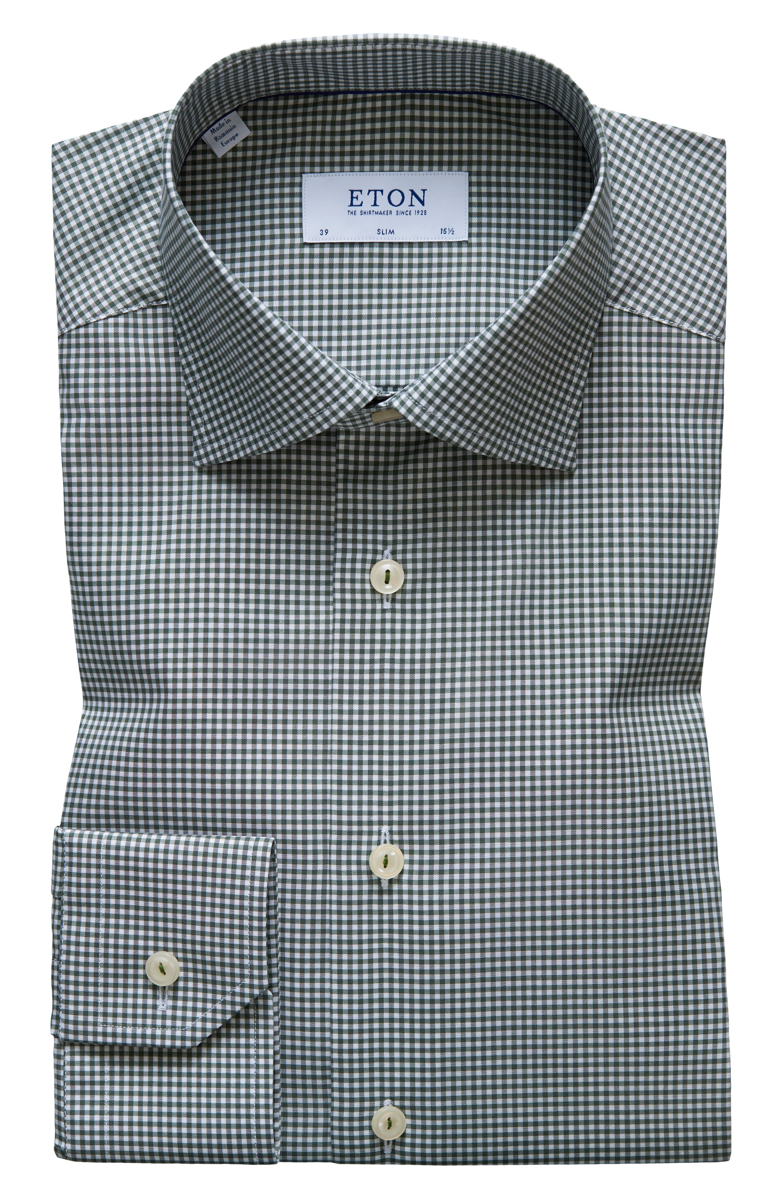 Contemporary Fit Check Dress Shirt,                             Main thumbnail 1, color,                             OLIVE GREEN