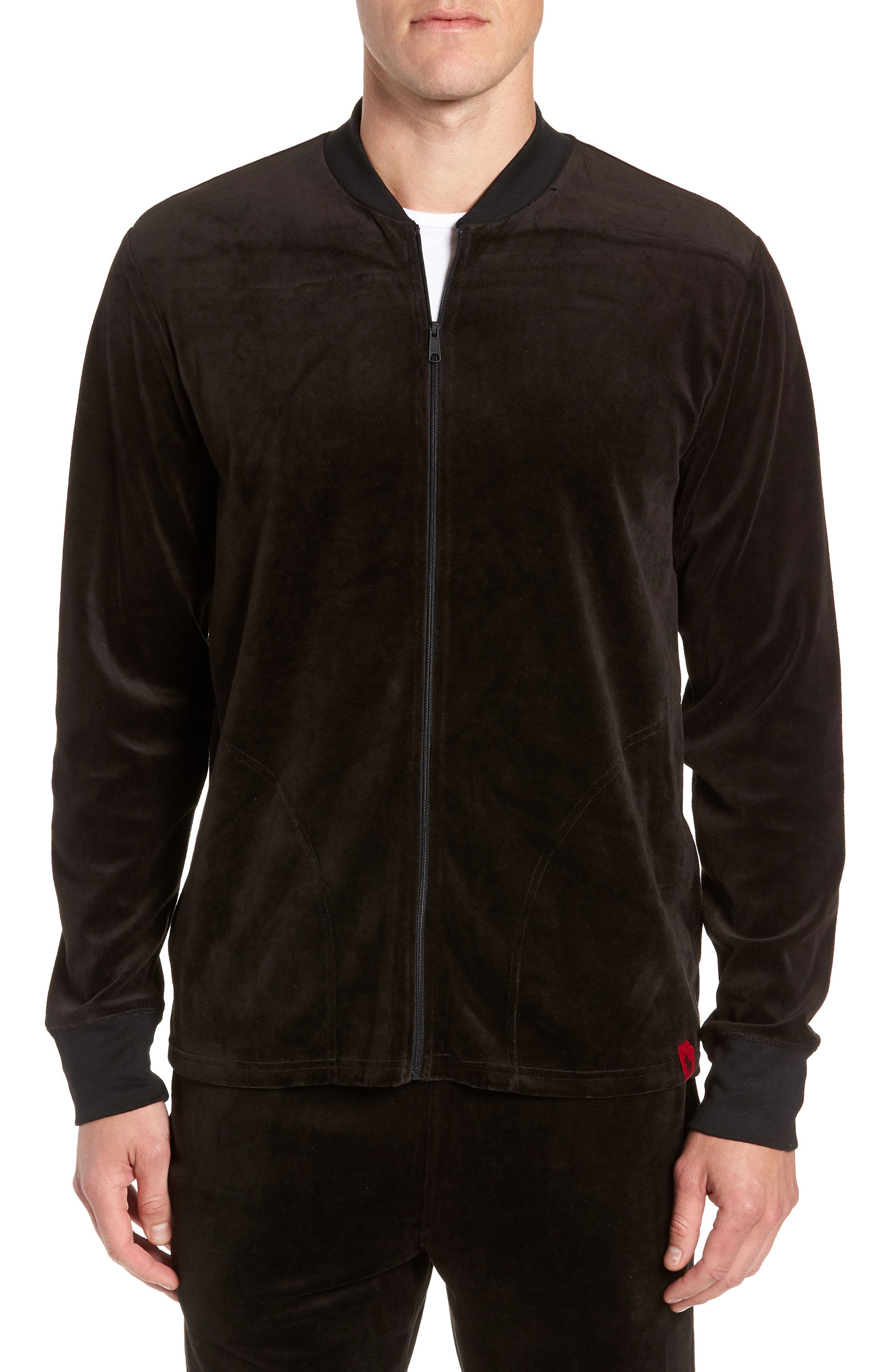 Velour Jacket,                             Main thumbnail 1, color,                             POLO BLACK