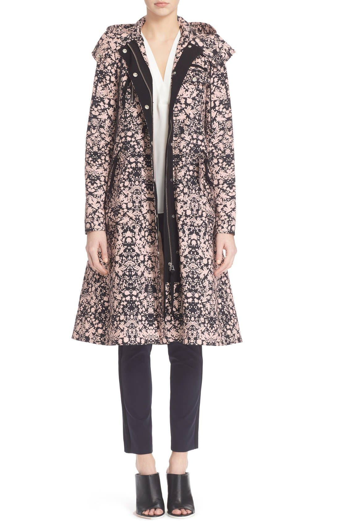 Print Stretch Cotton Trench Coat,                         Main,                         color, 110