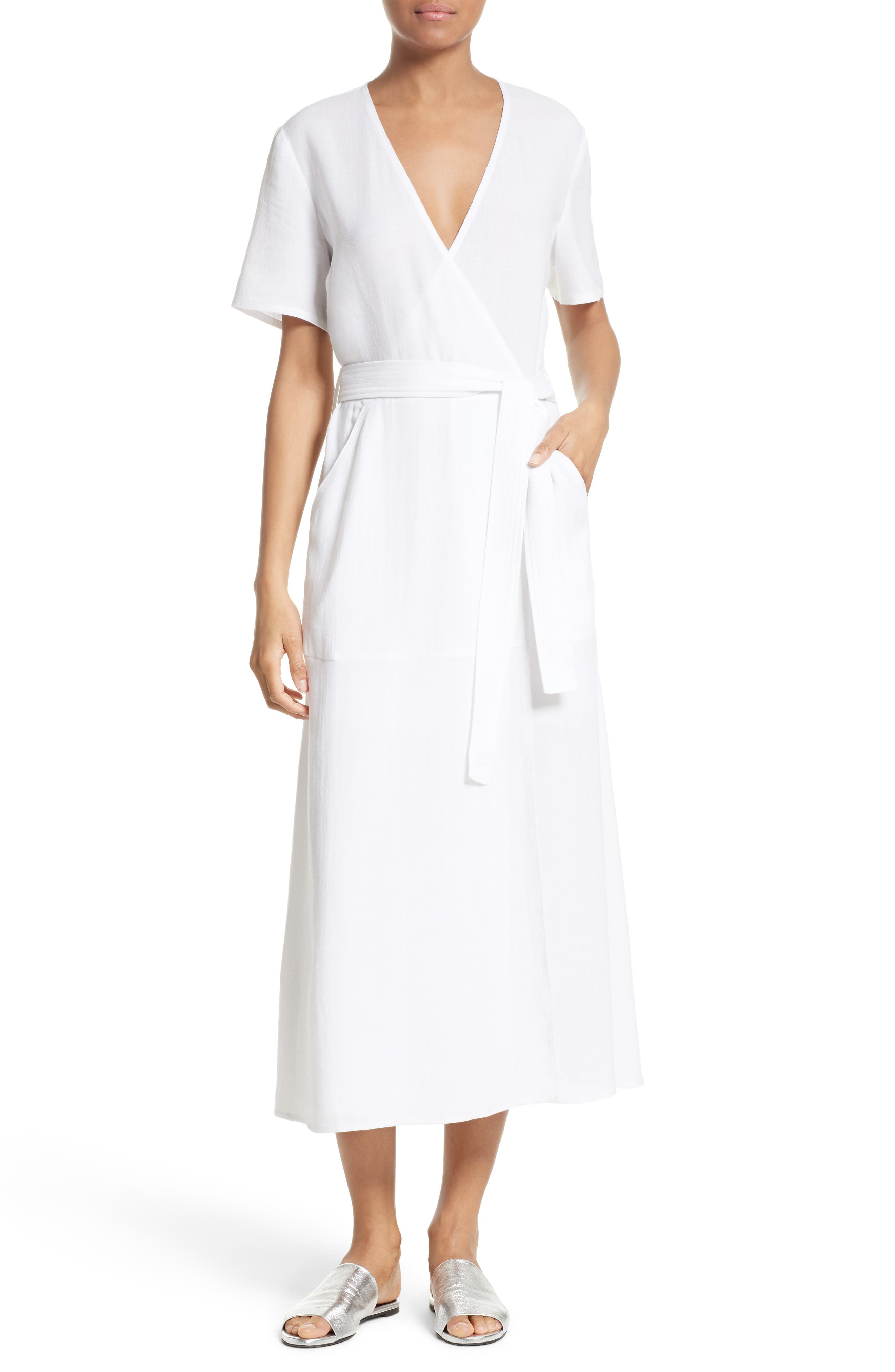 A.L.C. Asa Midi Wrap Dress, Main, color, 100