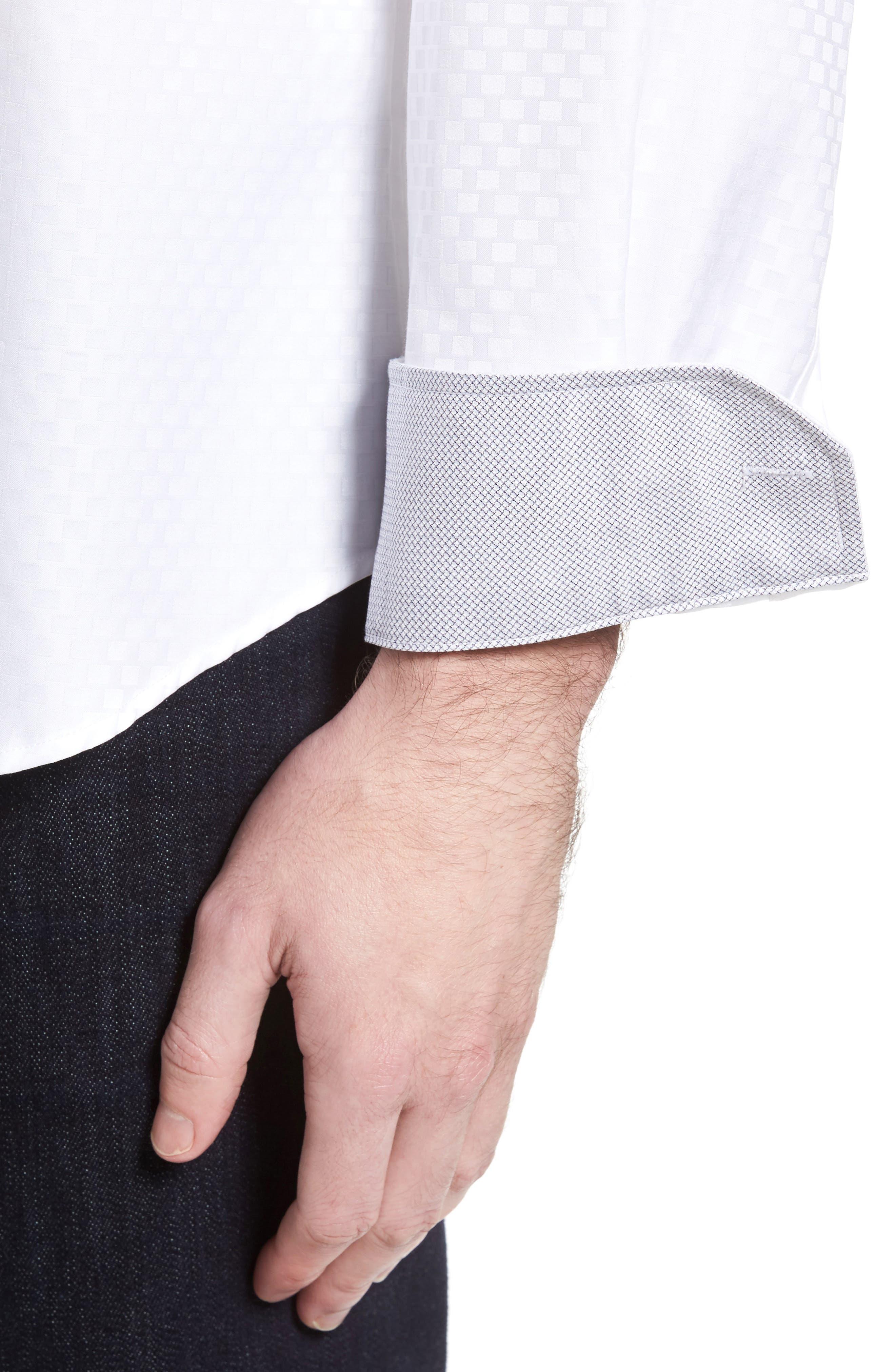 Shaped Fit Rectangle Jacquard Sport Shirt,                             Alternate thumbnail 12, color,