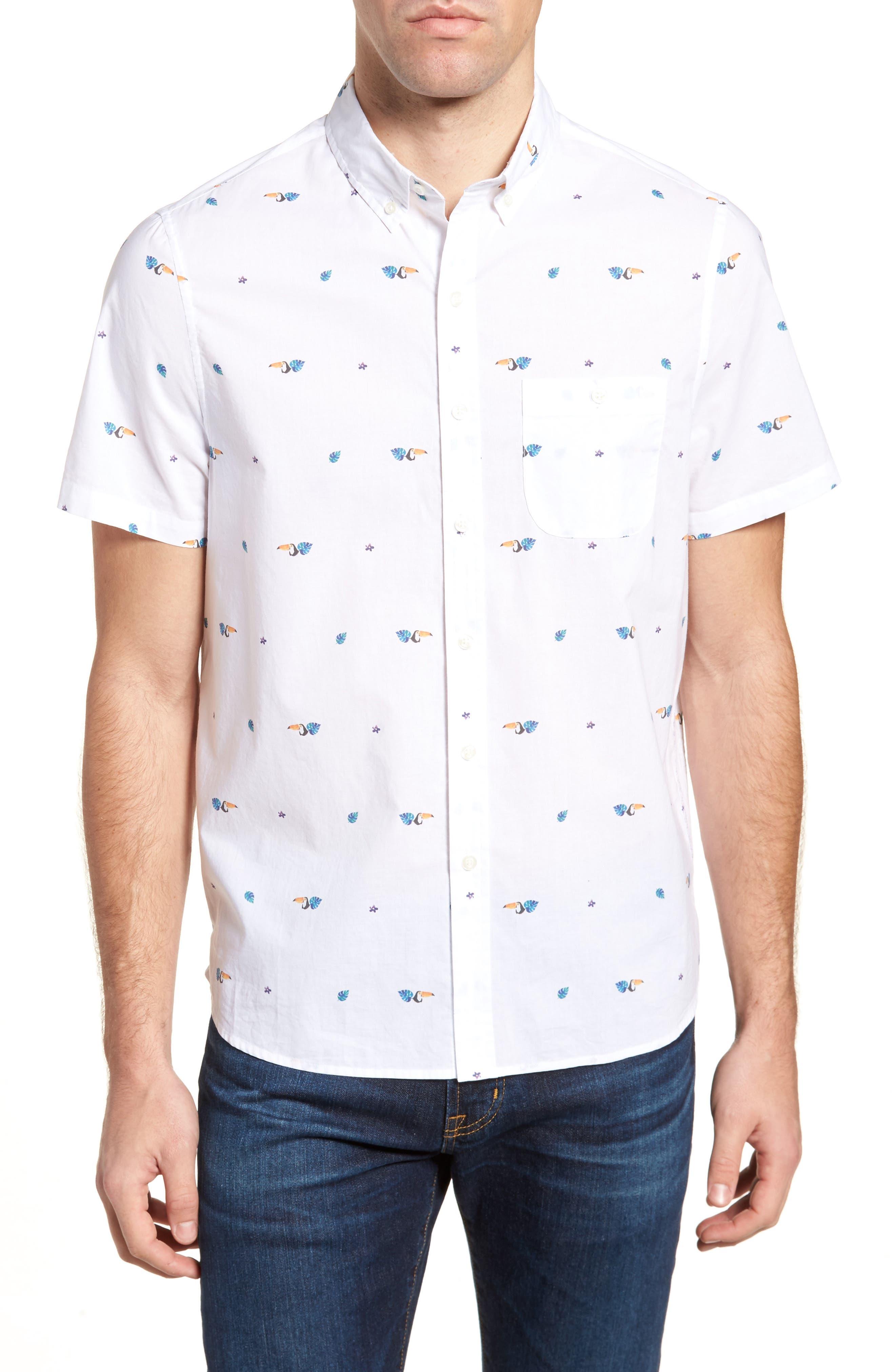 Toucan Print Sport Shirt,                         Main,                         color, 113