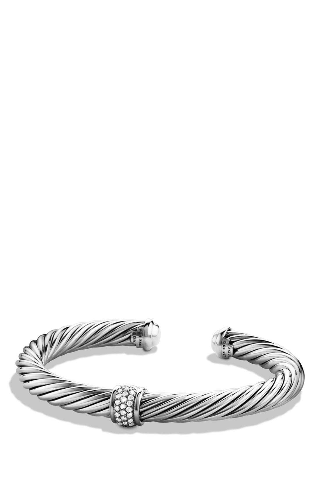 'Cable Classics' Bracelet with Diamonds and White Gold,                         Main,                         color, DIAMOND