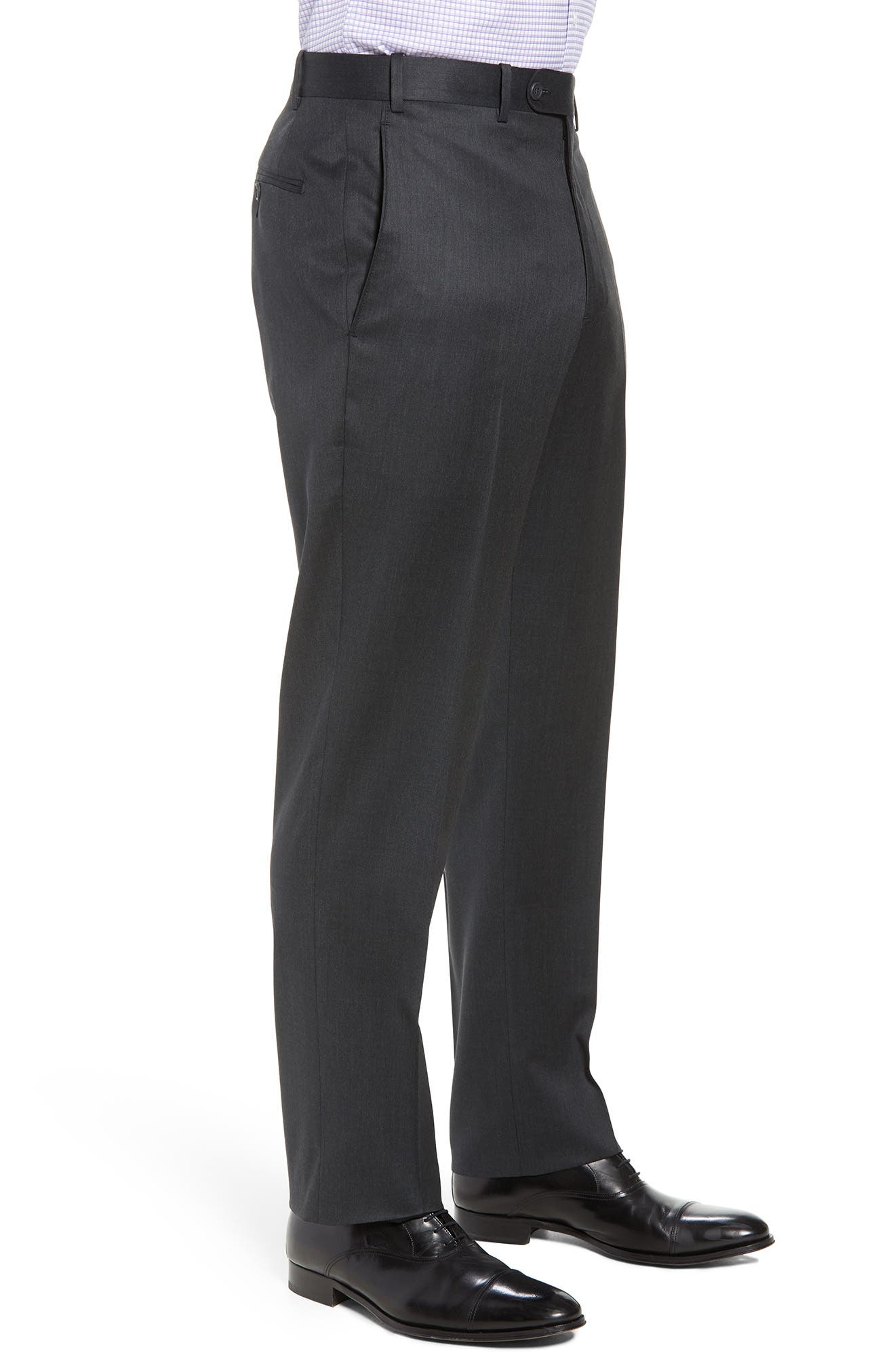 Torino Flat Front Wool Gabardine Trousers,                             Alternate thumbnail 14, color,
